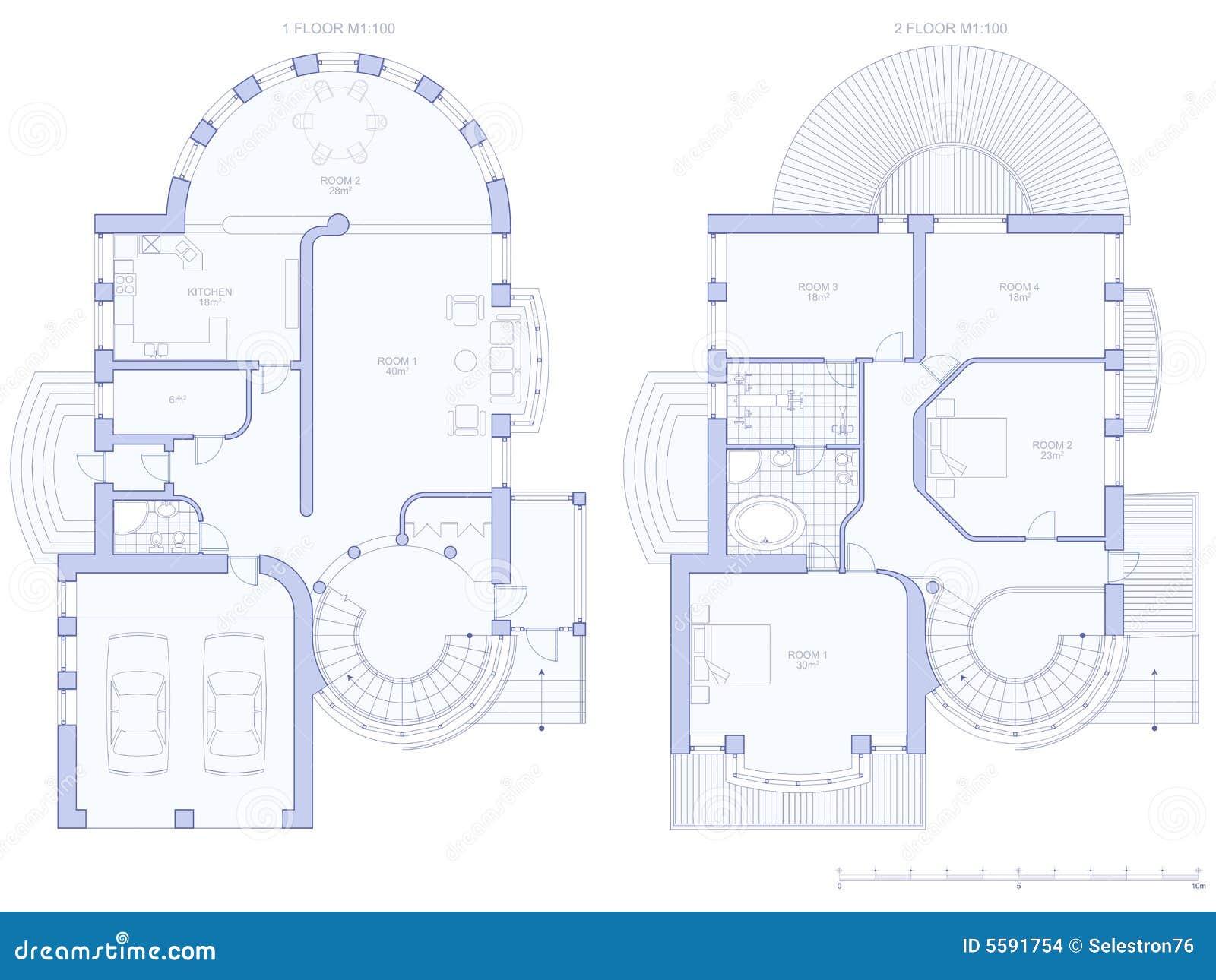 Haus Architekturplan Vektor Abbildung Illustration Von Feld 5591754