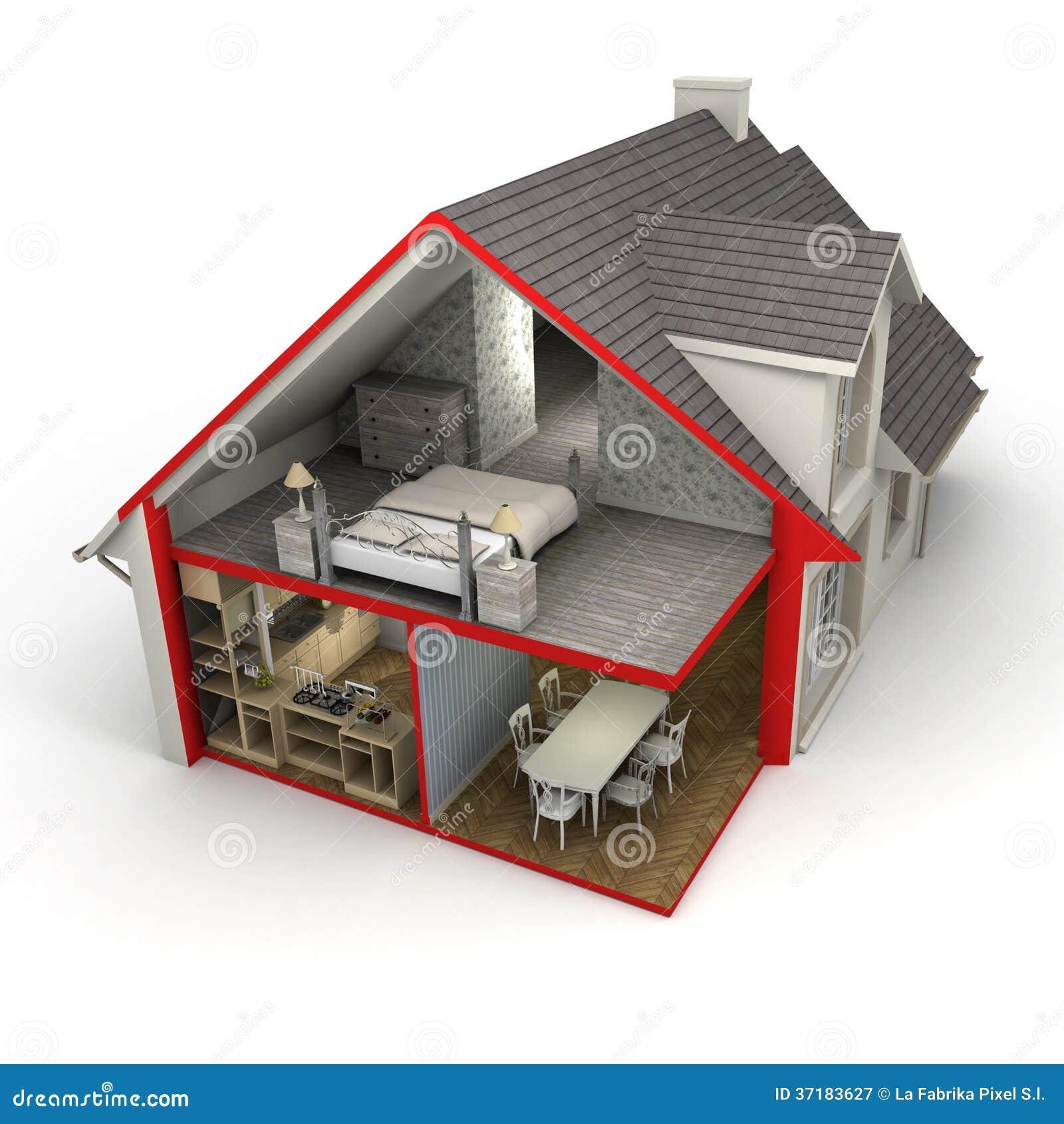 haus au en und innen stockbild bild von plan haupt 37183627. Black Bedroom Furniture Sets. Home Design Ideas