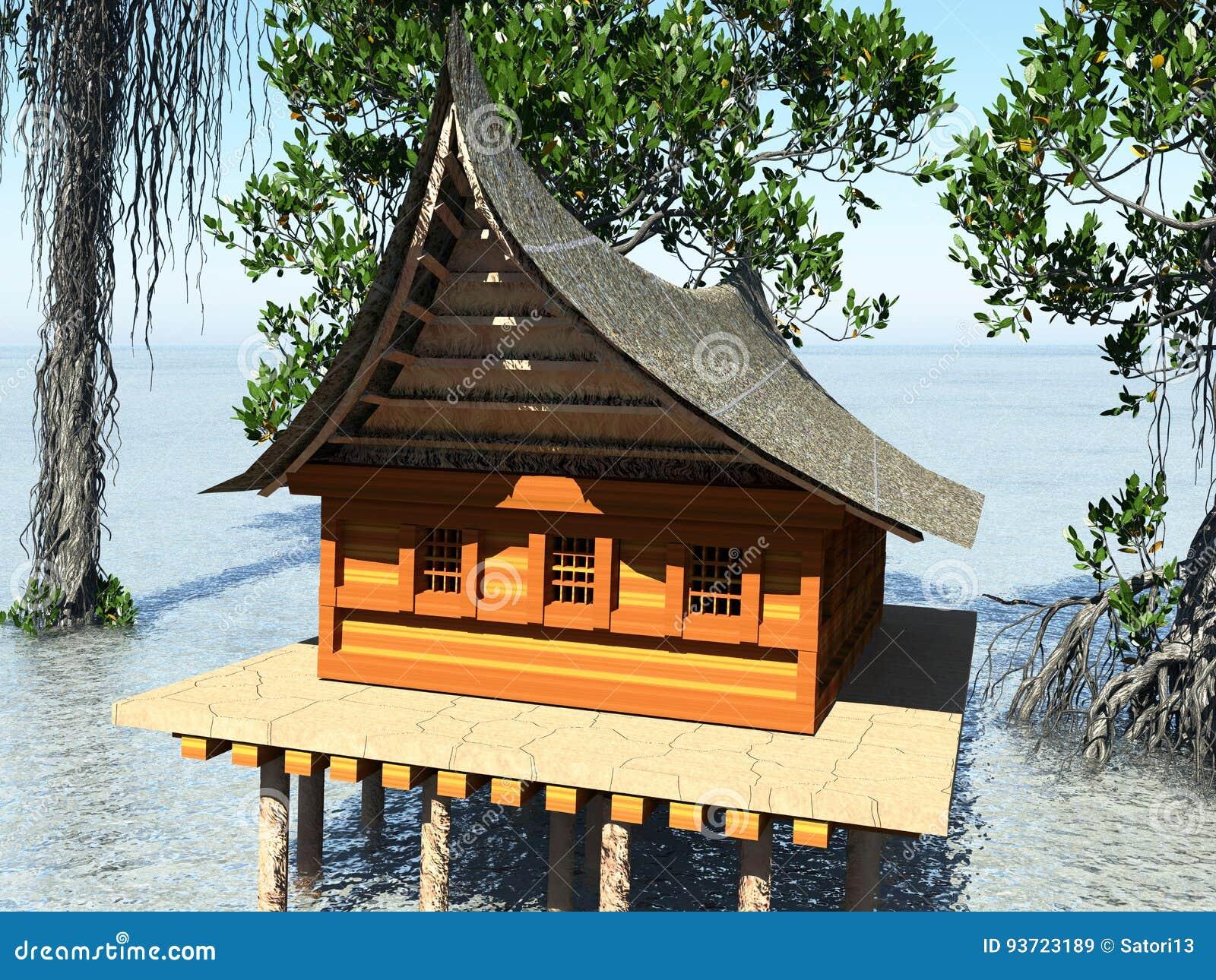 Anspruchsvoll Haus Auf Stelzen Beste Wahl In Der Wiedergabe Der Mangrovenwaldstrandarchitektur 3d