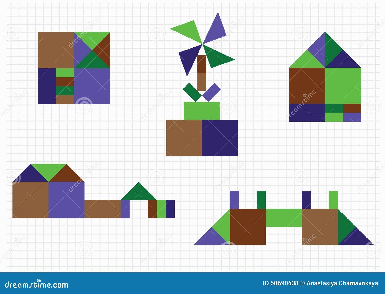 Haus br cke m hle geometrische formen vektor abbildung for Haus formen