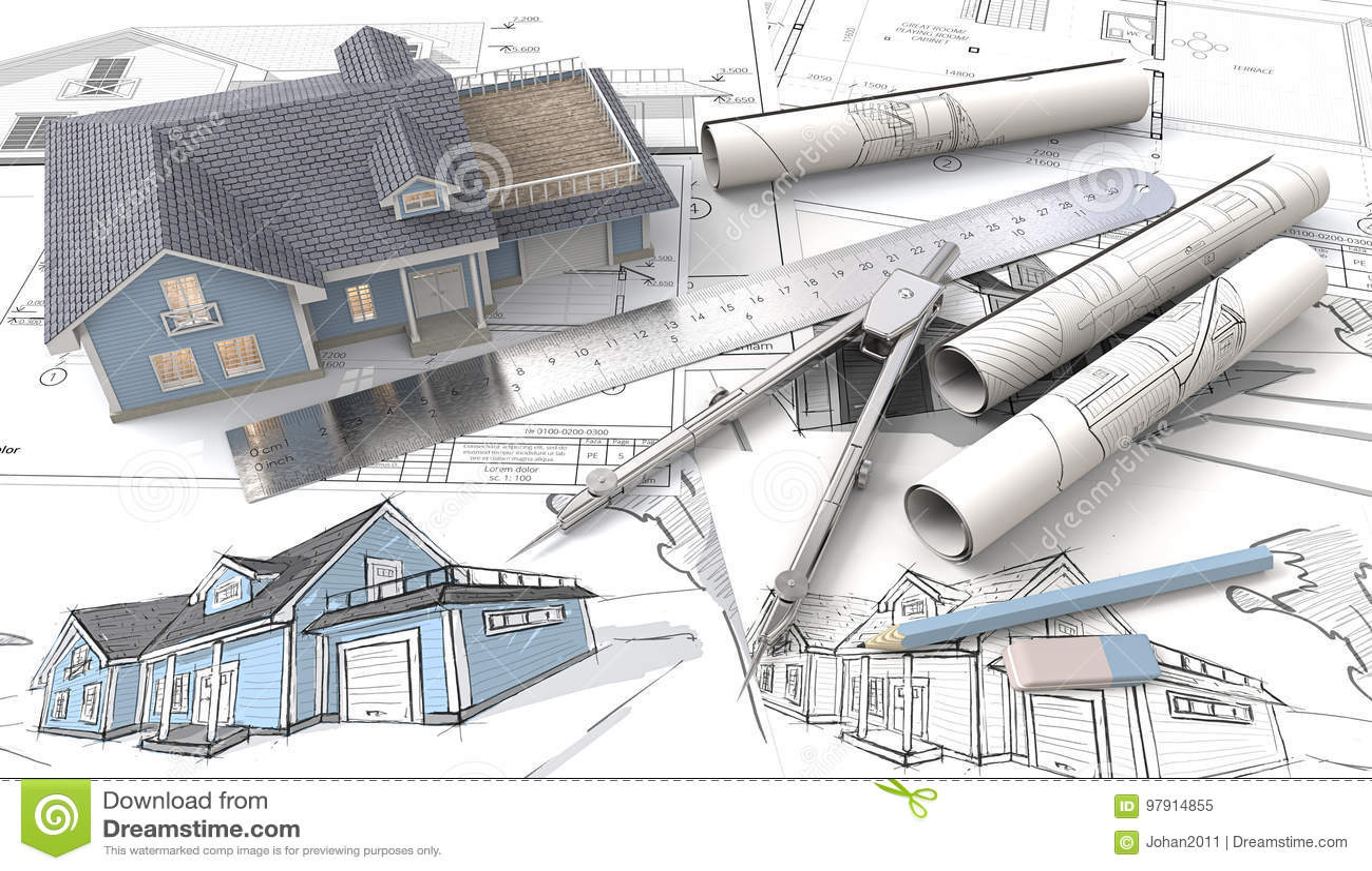 haus 3d auf design-skizzen und plänen stock abbildung - illustration