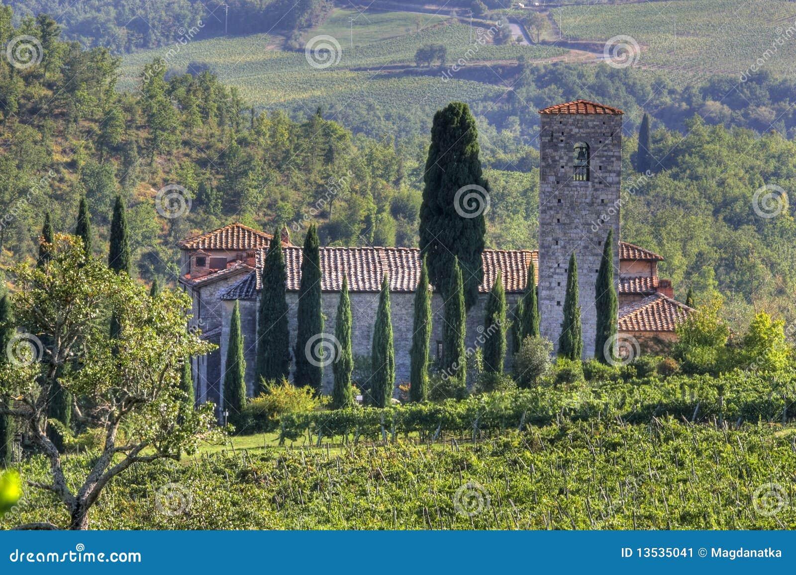 Haus In Der Toskana Landschaft Stockbild Bild Von Landschaft