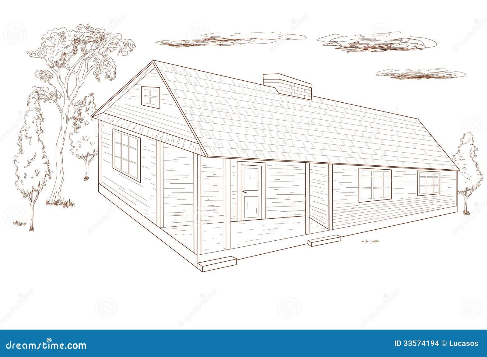 haus hand des landes gezeichnet stock abbildung bild. Black Bedroom Furniture Sets. Home Design Ideas