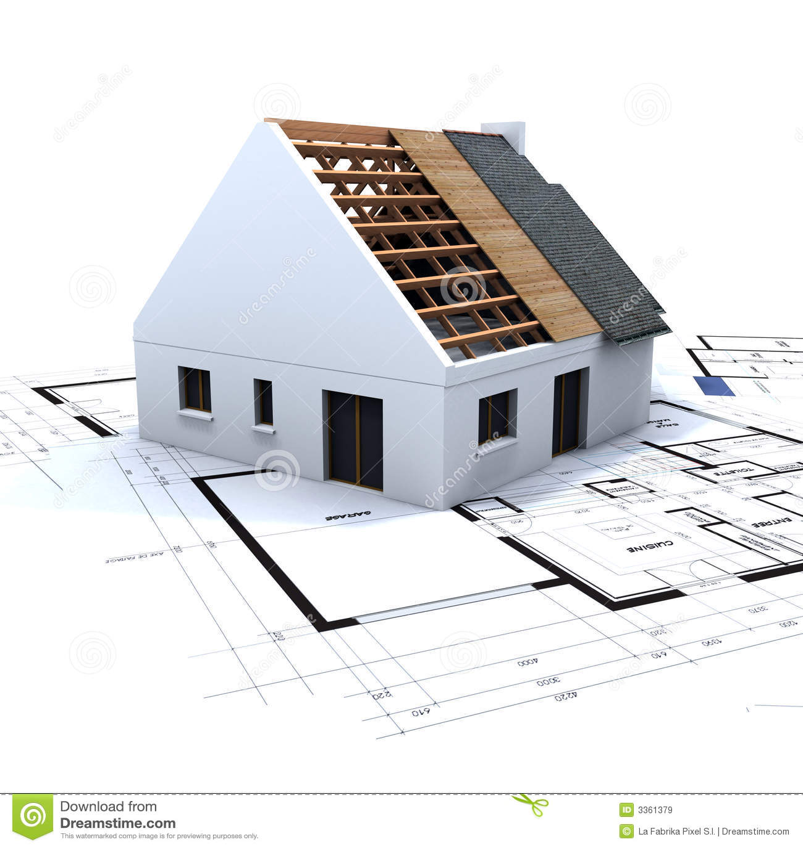 haus im aufbau und im blau stock abbildung bild von auslegung 3361379. Black Bedroom Furniture Sets. Home Design Ideas