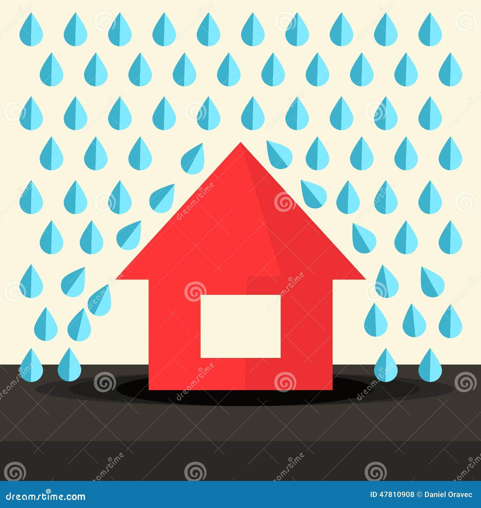 Haus Im Regen-flachen Design Vektor Abbildung - Illustration von ...