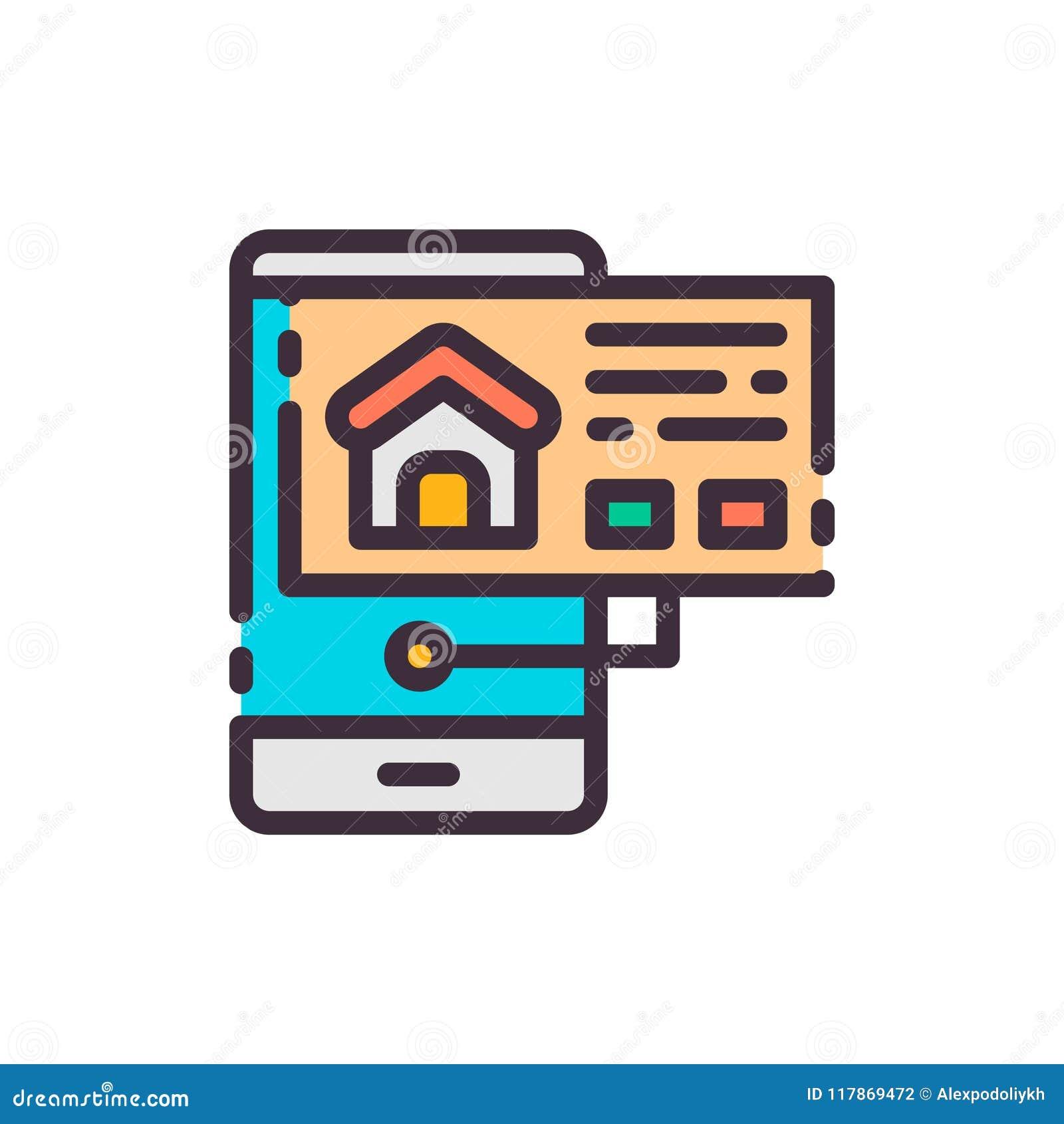 Haus im Telefon suchen und wählend Vektorfarbikone