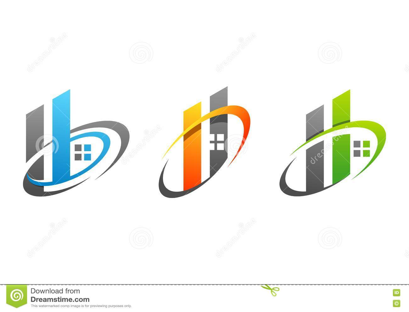 Haus, Immobilien, Gebäude, Haus, Logo, Symbol, Satz ...