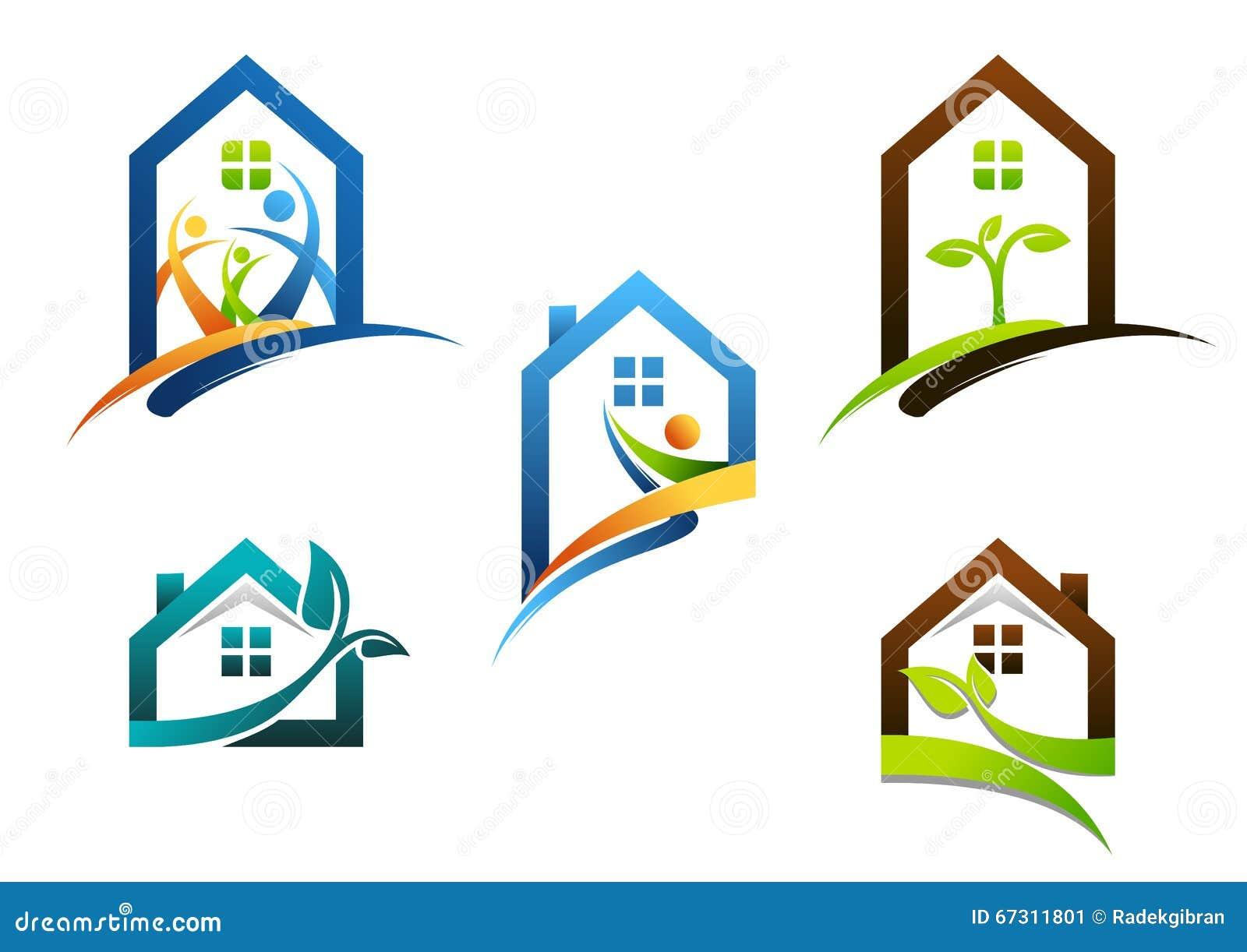 Haus, Immobilien, Haus, Logo, Wohngebäudeikonen, Sammlung ...