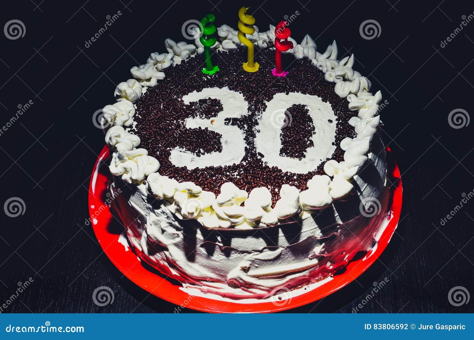 Haus Machte Geburtstagskuchen Fur 30 Geburtstag Stockfoto Bild
