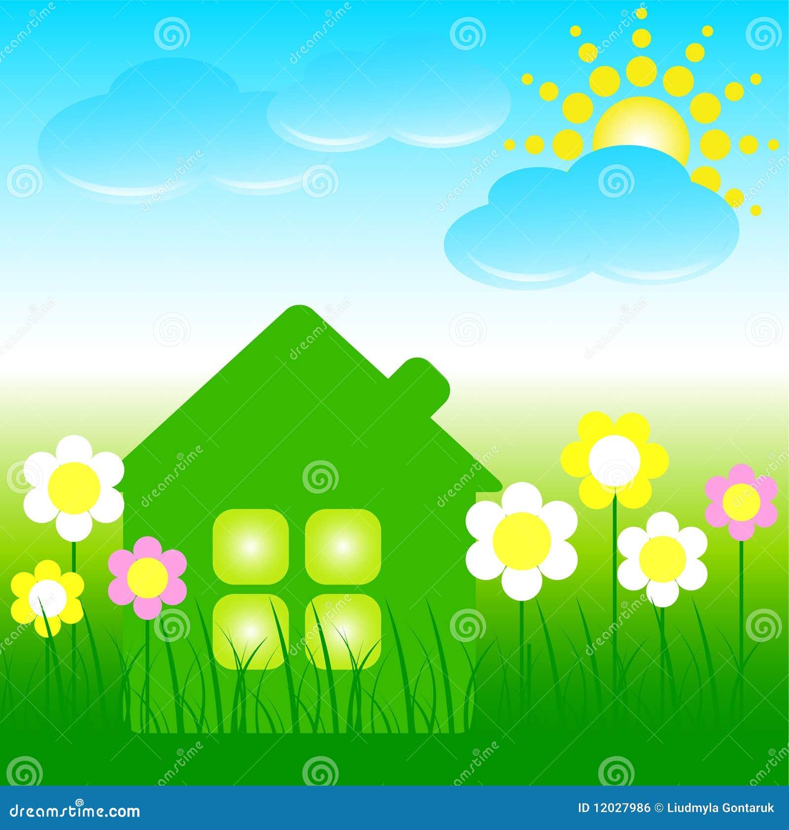 haus mit blumen blauen wolken und einer sonne lizenzfreies stockbild bild 12027986. Black Bedroom Furniture Sets. Home Design Ideas