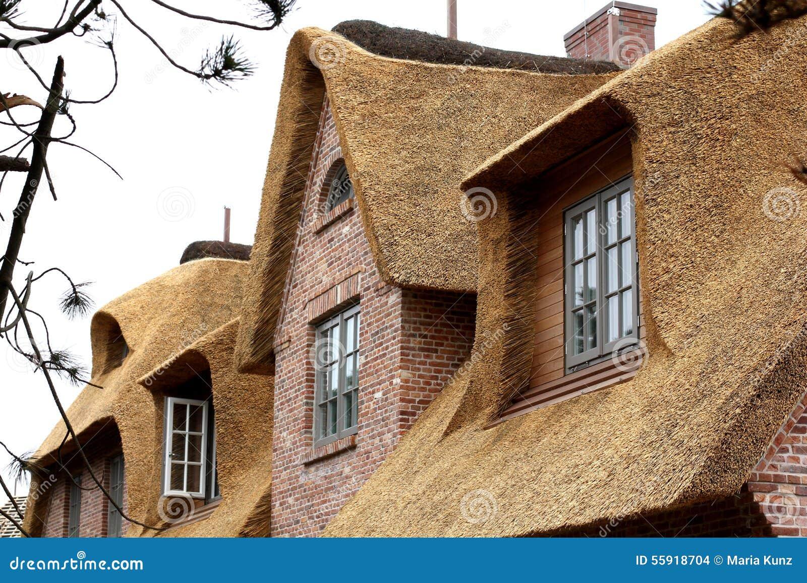 haus mit einem strohdach deutschland stockfoto bild von himmel bedeckung 55918704. Black Bedroom Furniture Sets. Home Design Ideas