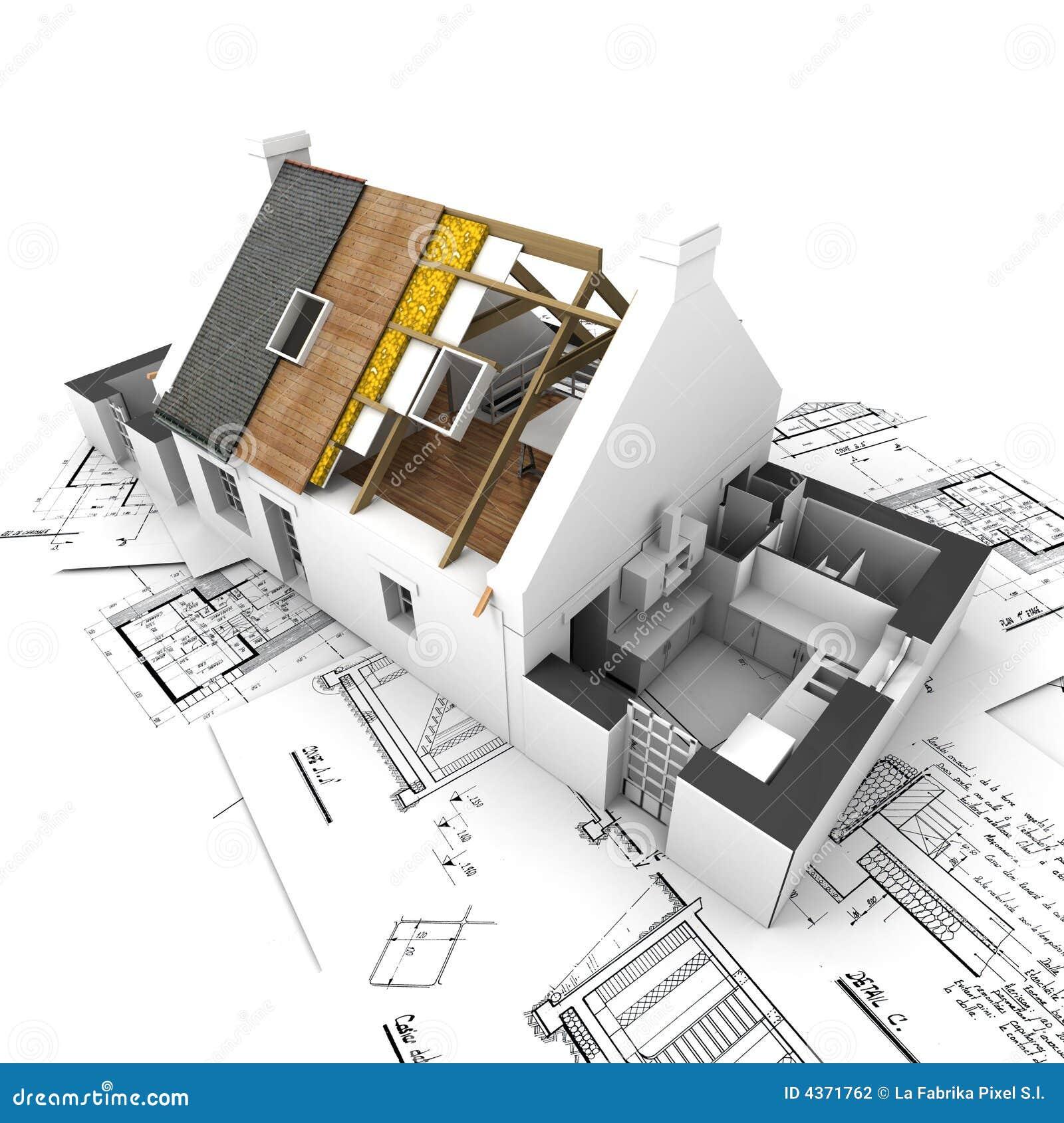 Haus mit herausgestellten dachschichten und plänen