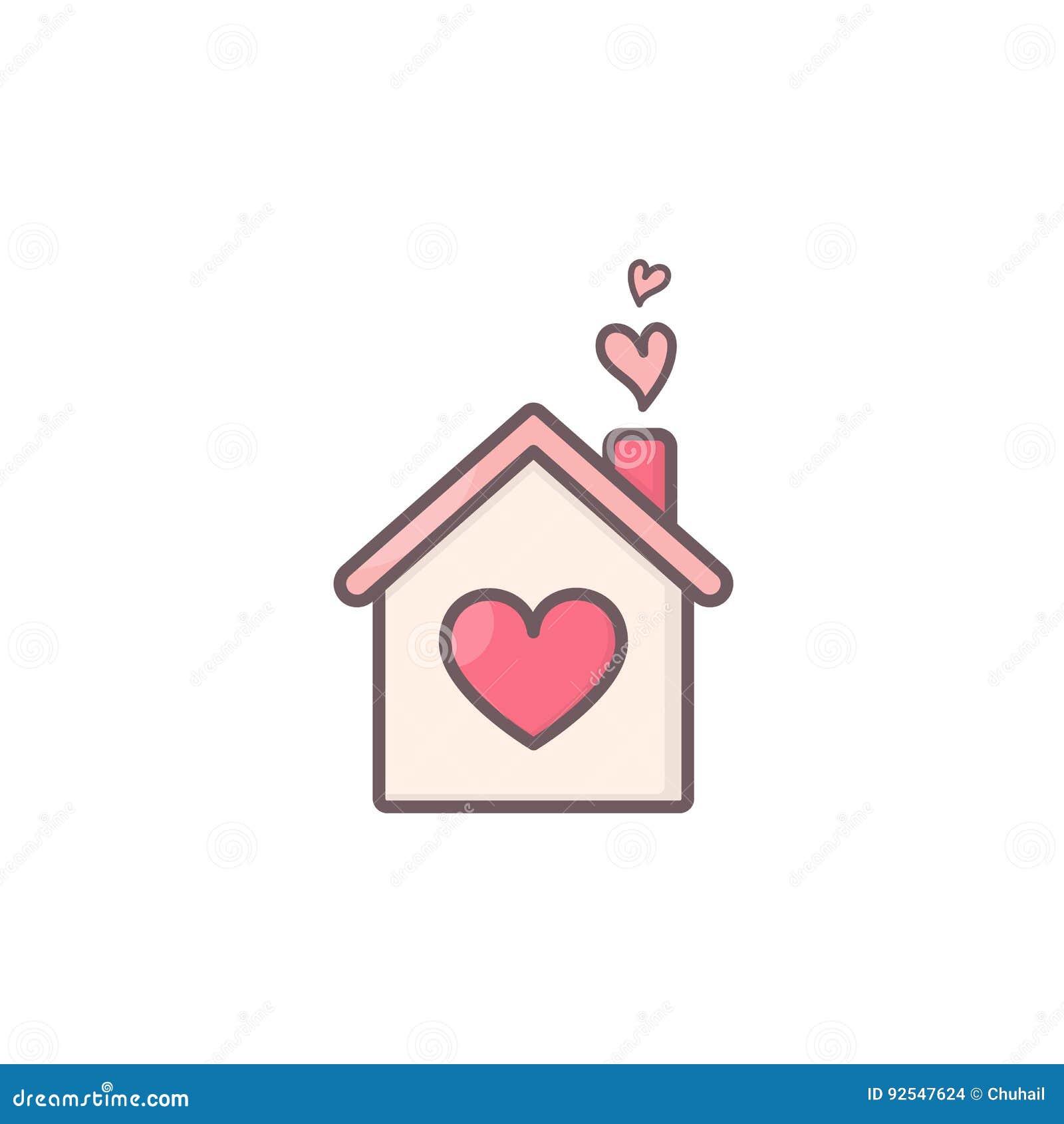 Haus mit Herzen nach innen vektor abbildung. Illustration von haupt ...