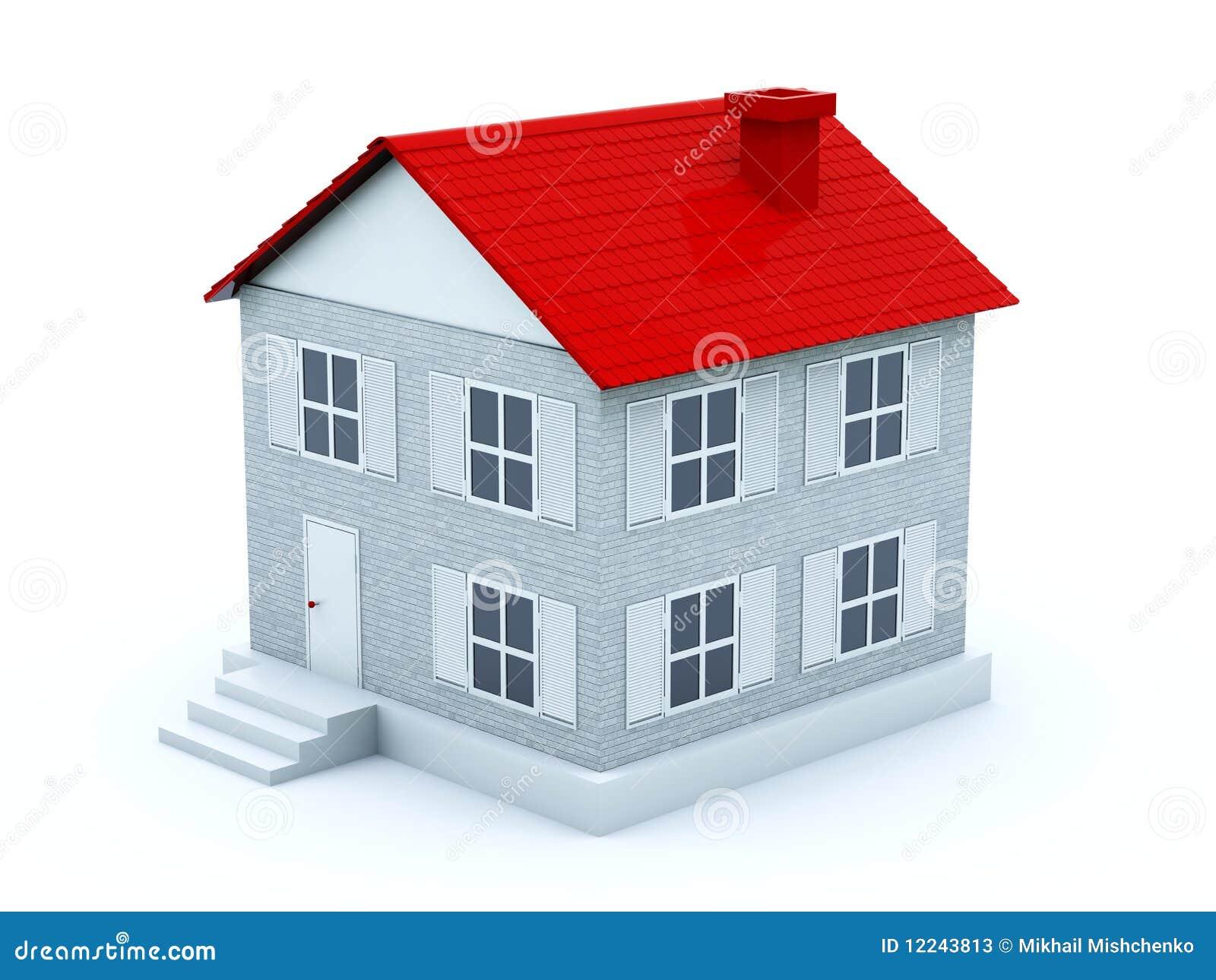 haus mit rotem dach stock abbildung illustration von konzept 12243813. Black Bedroom Furniture Sets. Home Design Ideas