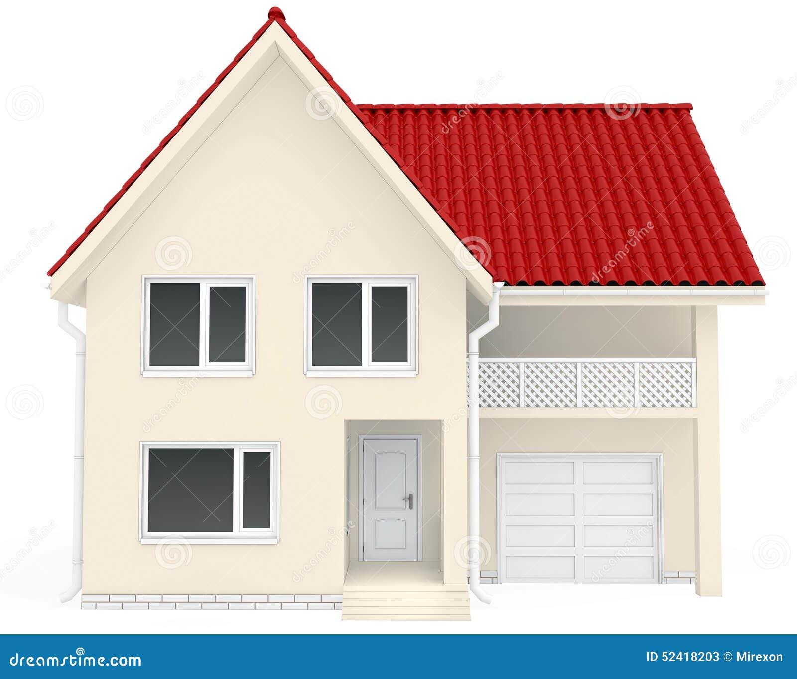 haus mit rotem dach balkon und garage an stockbild bild. Black Bedroom Furniture Sets. Home Design Ideas