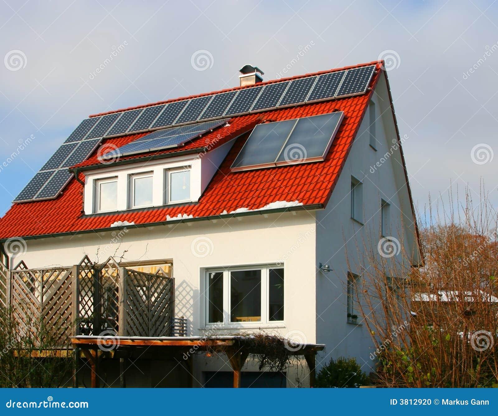 haus mit solarzelle stockfoto bild 3812920. Black Bedroom Furniture Sets. Home Design Ideas