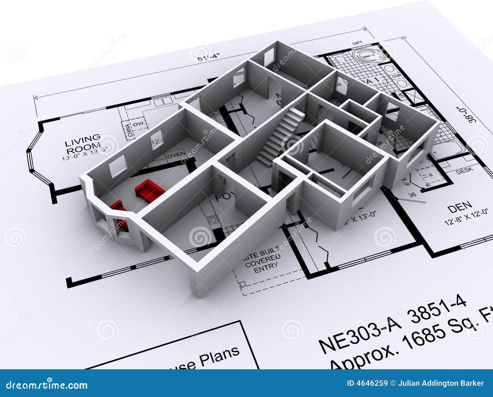 Haus plan stock abbildung bild von replik baumuster for Haus plan