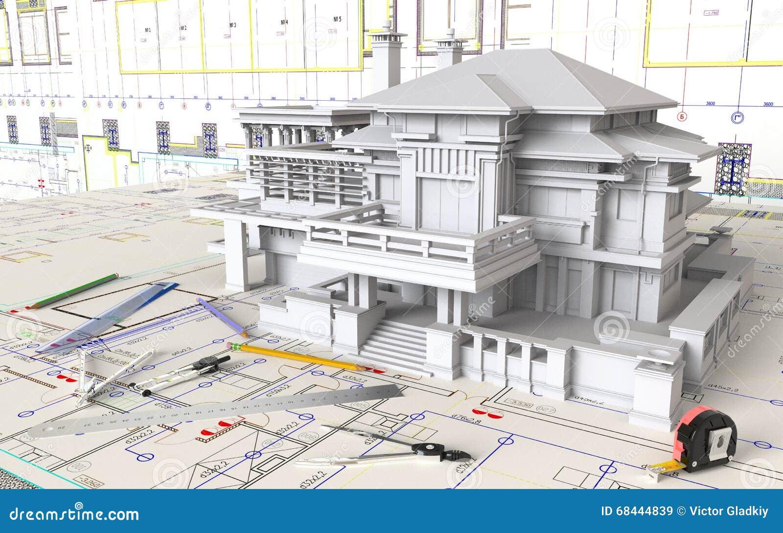 Haus plan und architekturzeichnungen stockfoto bild for Haus plan