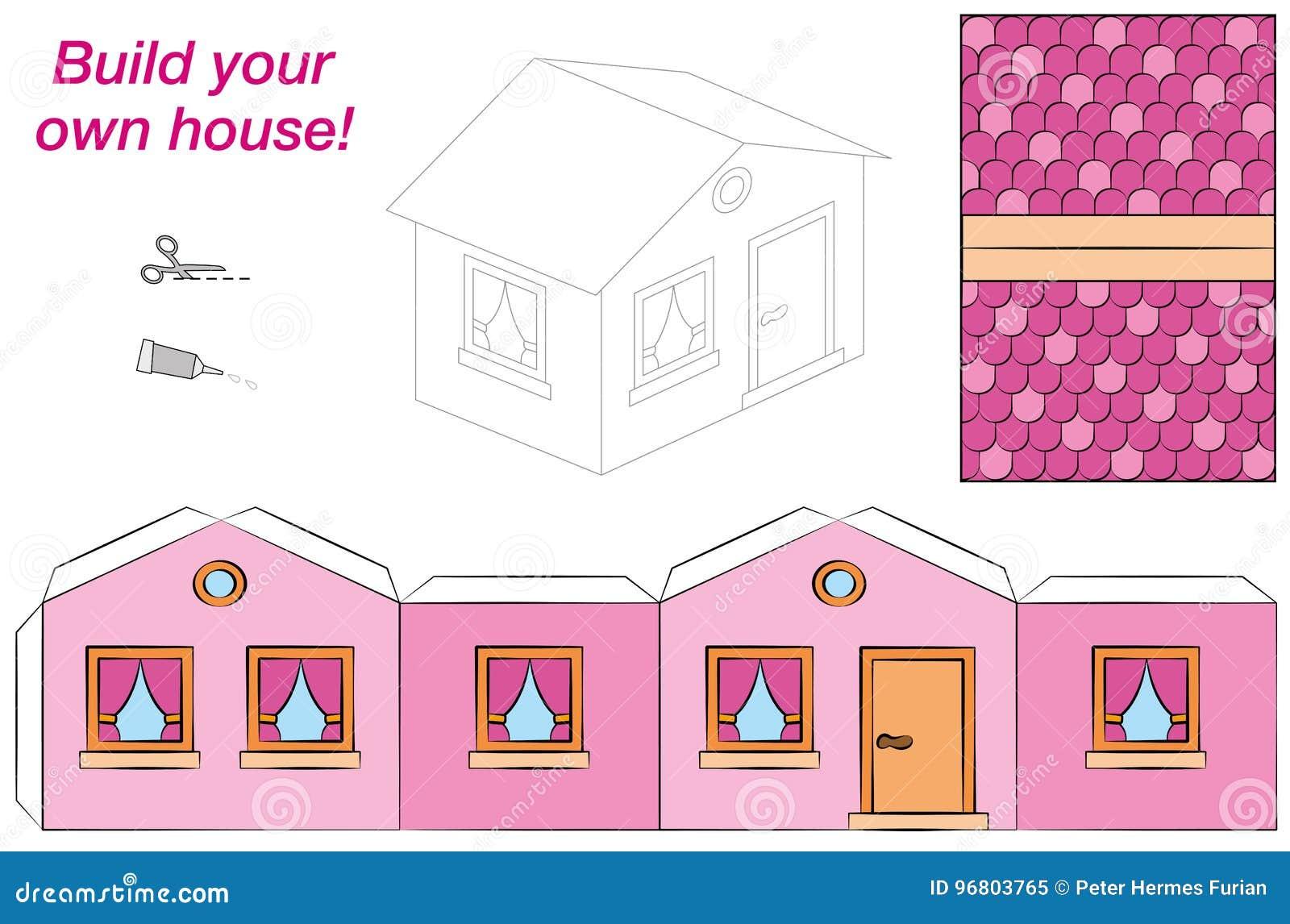 Haus Schablonen Papier Modell Pink Vektor Abbildung Illustration