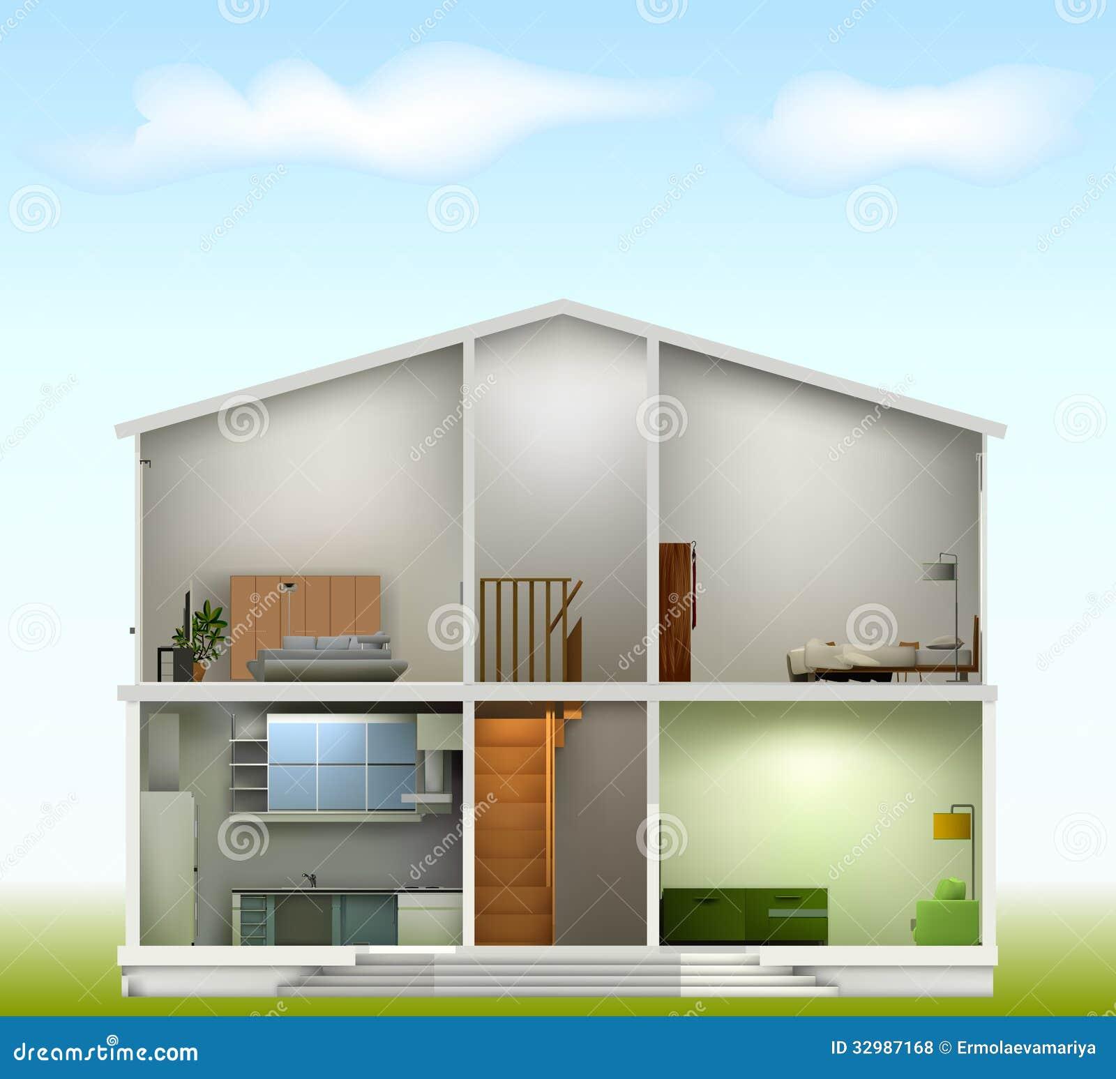 Haus Schnitt Mit Innenraum An Gegen Den Himmel Vektor Abbildung ...