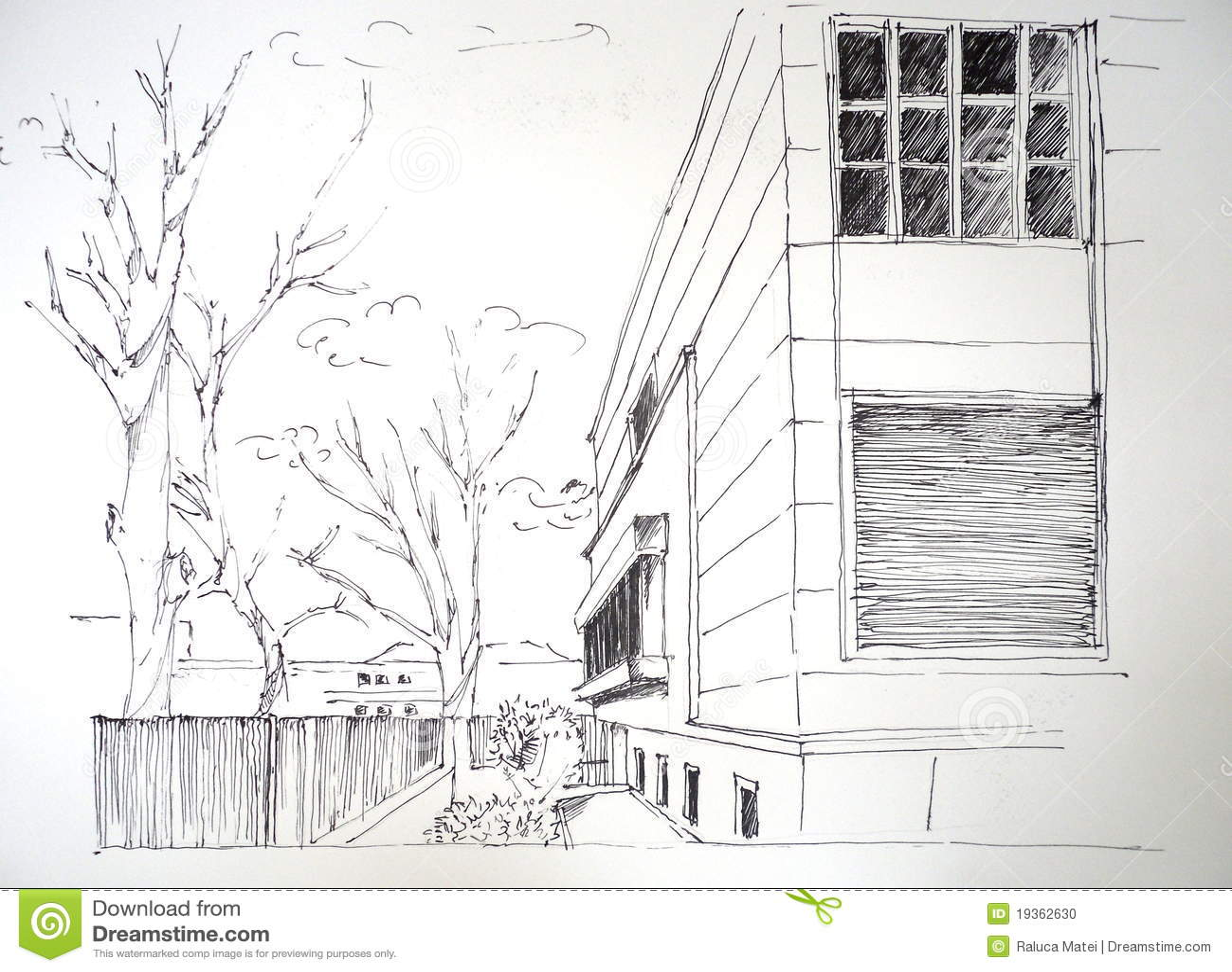 Haus skizze stockfoto bild 19362630 for Modernes haus skizze