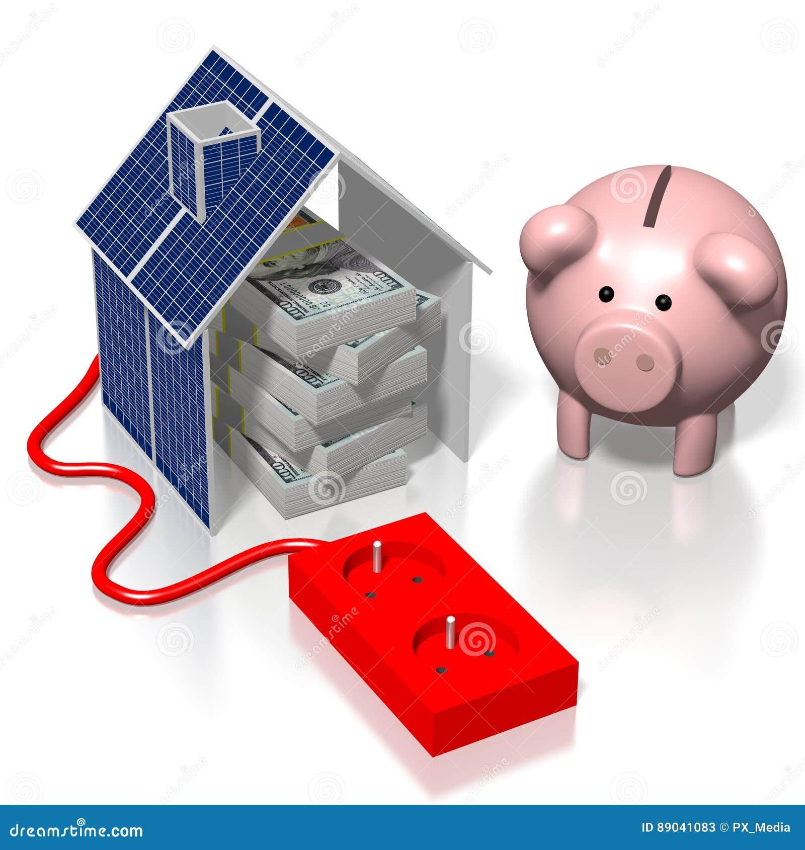 Haus, Sonnenkollektorkonzept Stock Abbildung - Illustration von ...