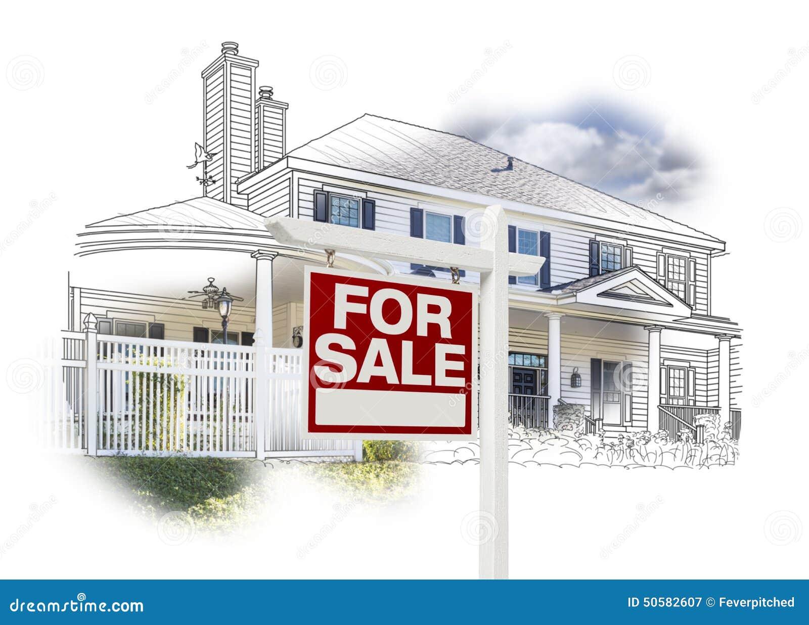 Haus und für Verkaufs-Zeichen-Zeichnung und Foto auf Weiß