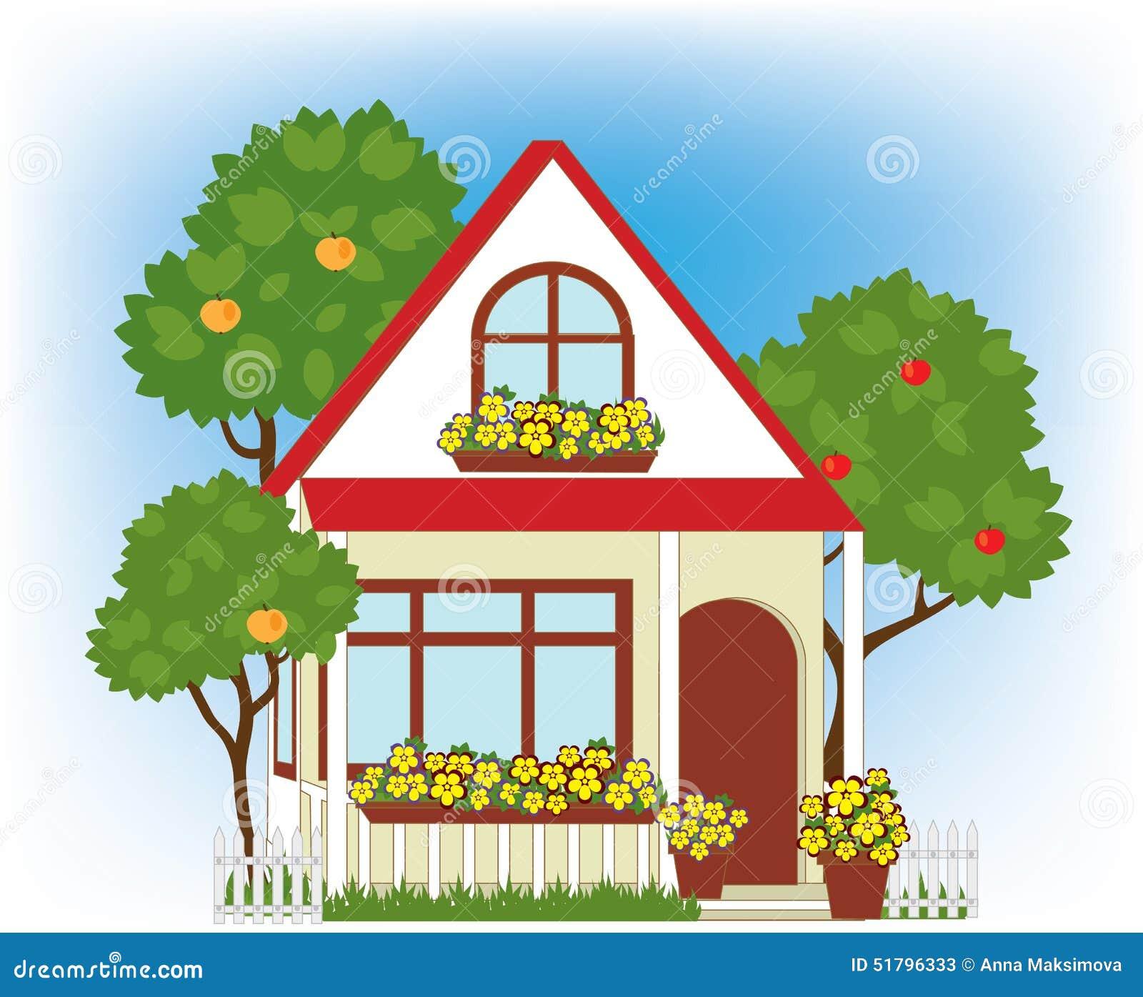 Haus Und Garten: Haus Und Garten Vektor Abbildung. Illustration Von Gebäude