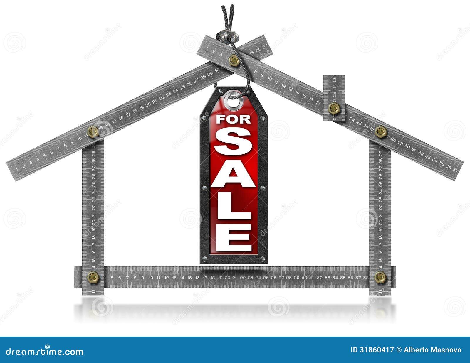haus zu verkaufen metallmeter werkzeug lizenzfreie stockfotografie bild 31860417. Black Bedroom Furniture Sets. Home Design Ideas