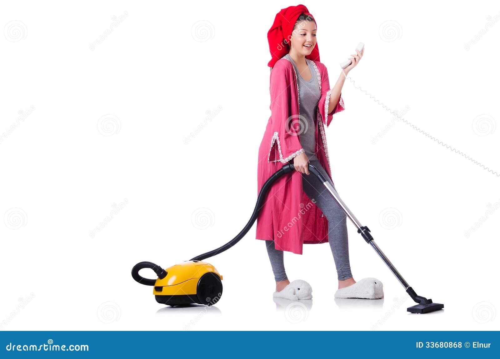 Hausfrau Mit Staubsauger Lizenzfreie Stockfotos  Bild  ~ Staubsauger Yes