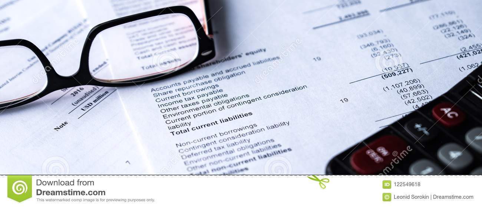 Haushaltserklärung las und überprüft die Zahl auf Analyse investieren Vorrat
