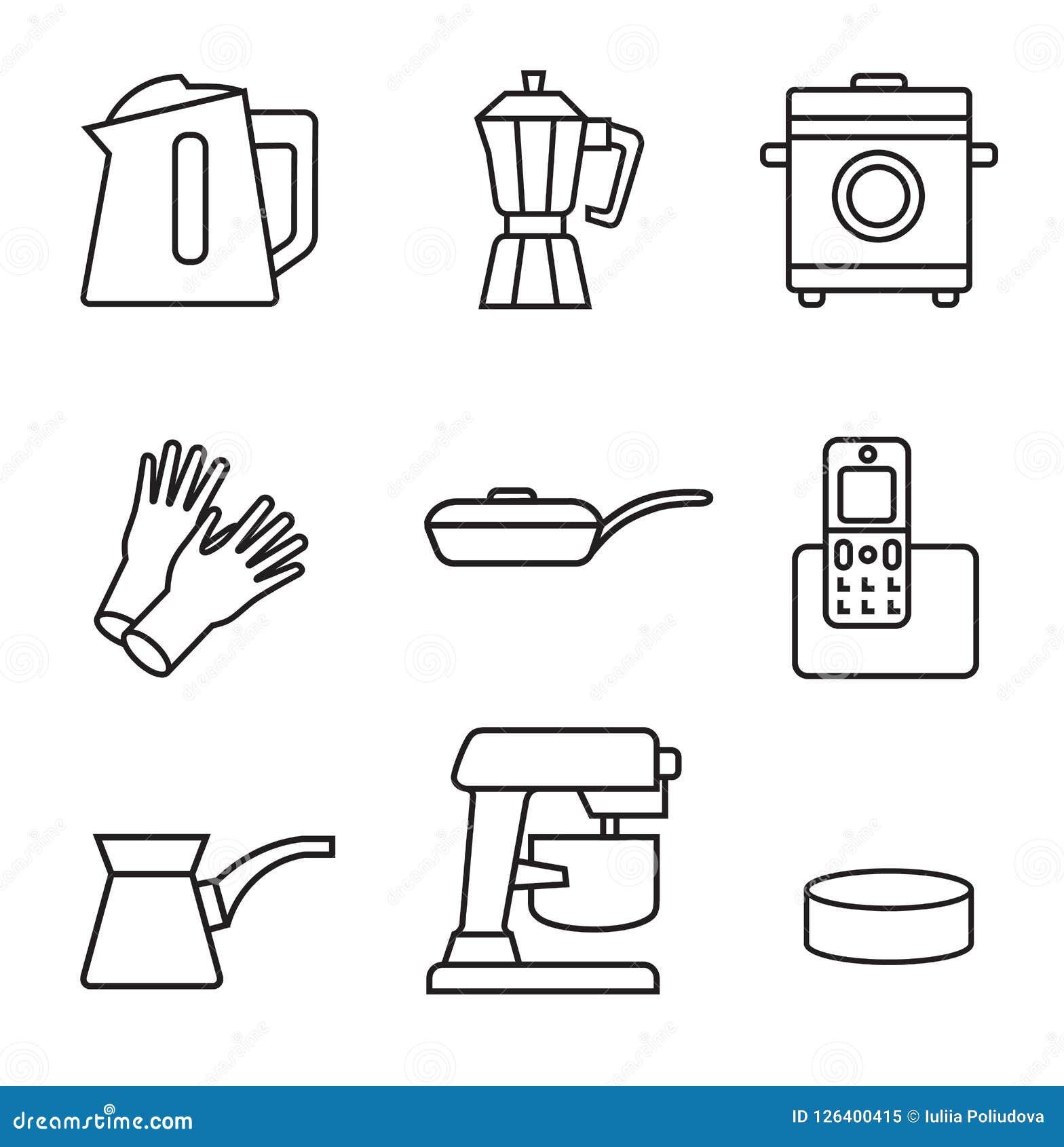 Haushaltsgerät-Ikonensatz Schwarzes Zeichen auf weißem Hintergrund