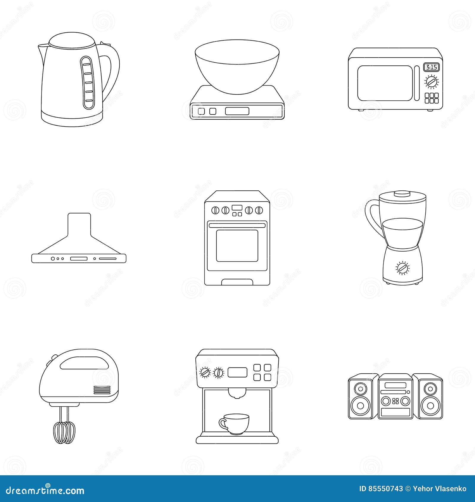 Haushaltsgeräte stellten Ikonen in der Entwurfsart ein Große Sammlung der Haushaltsgerätillustration