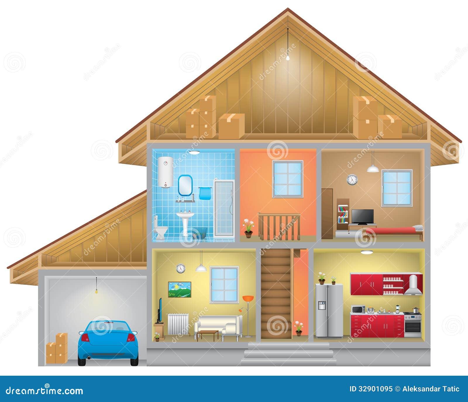 Hausinnenraum vektor abbildung. Illustration von dekoration - 32901095