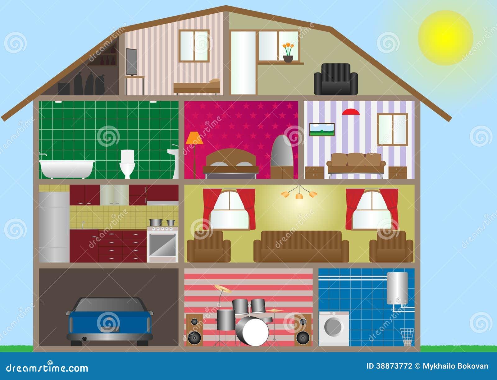 Hausinnenraum stock abbildung. Illustration von auto - 38873772