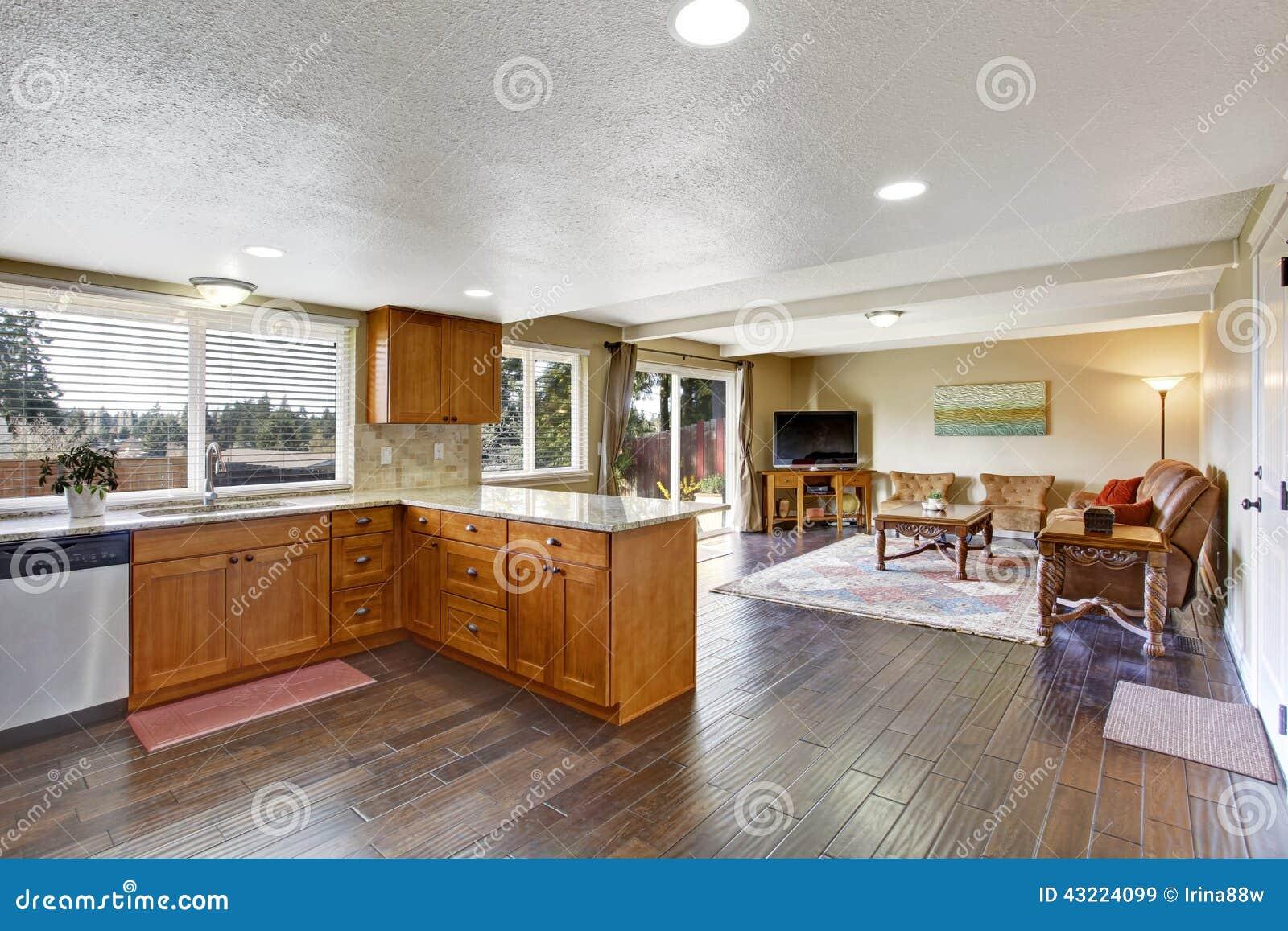 hausinnenraum mit offenem grundriss küche und wohnzimmer stockfoto, Wohnzimmer