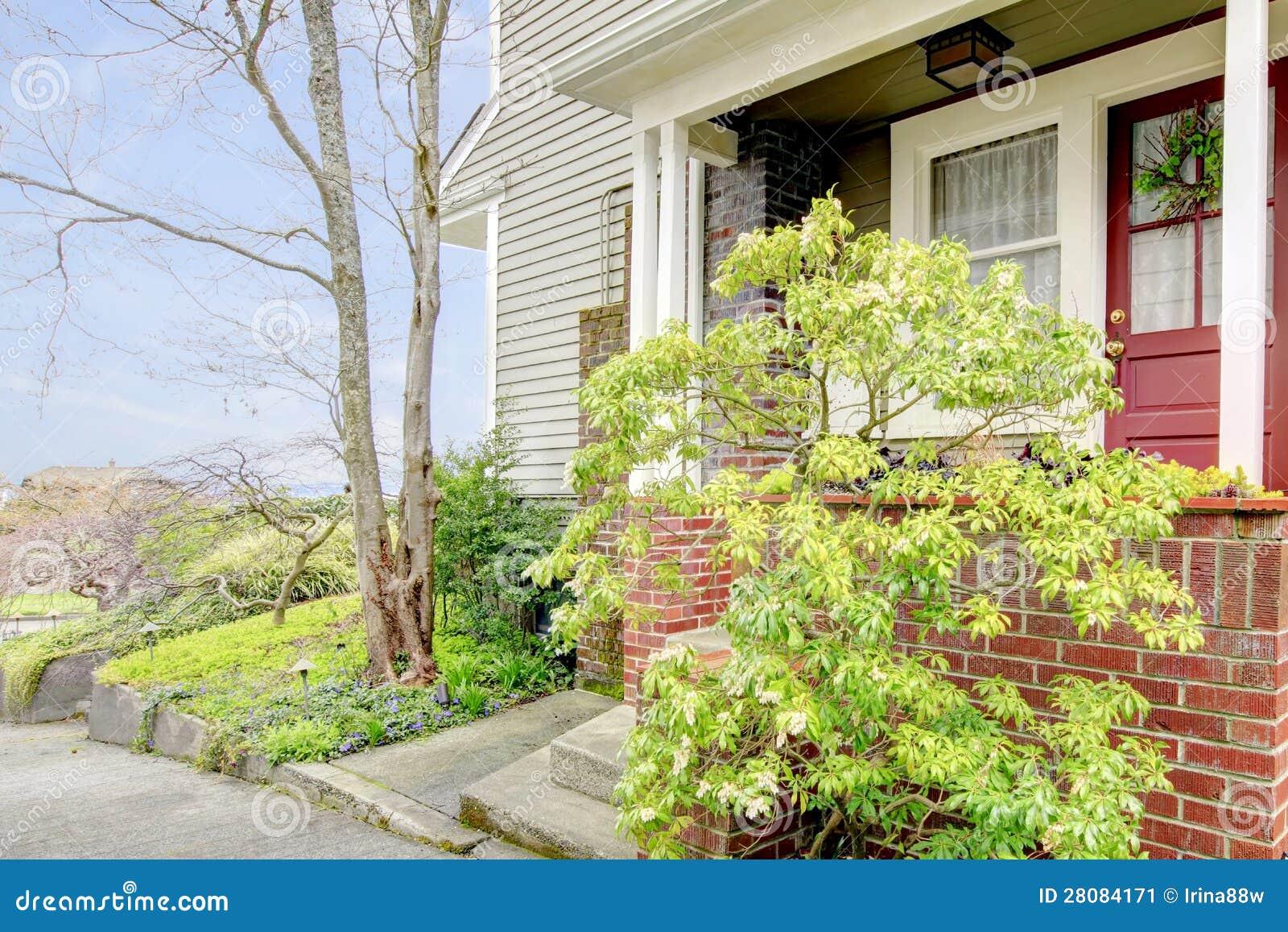 Haustur Des Typischen Amerikanischen Hauses Stockbild Bild Von