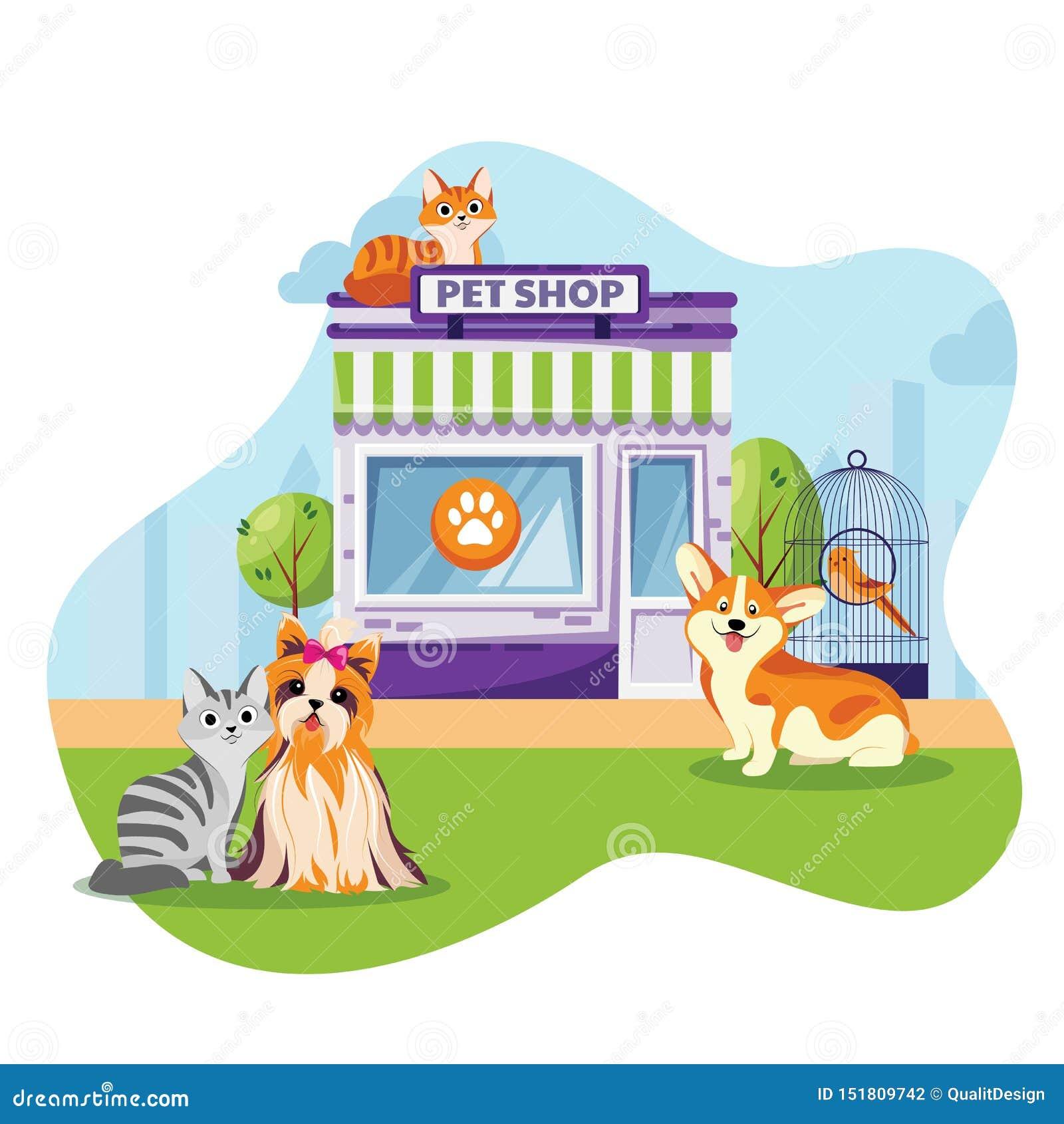 Haustierspeicher oder flache Karikaturillustration des Tierarztklinikfassadenvektors Katzen und Hunde, die nahe Tierbürogebäude s