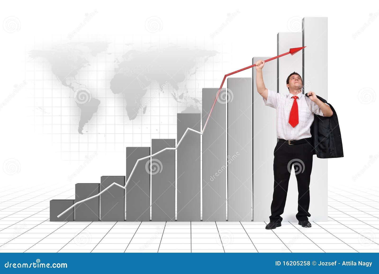 Haut de flèche de graphique de fixation d homme d affaires haut