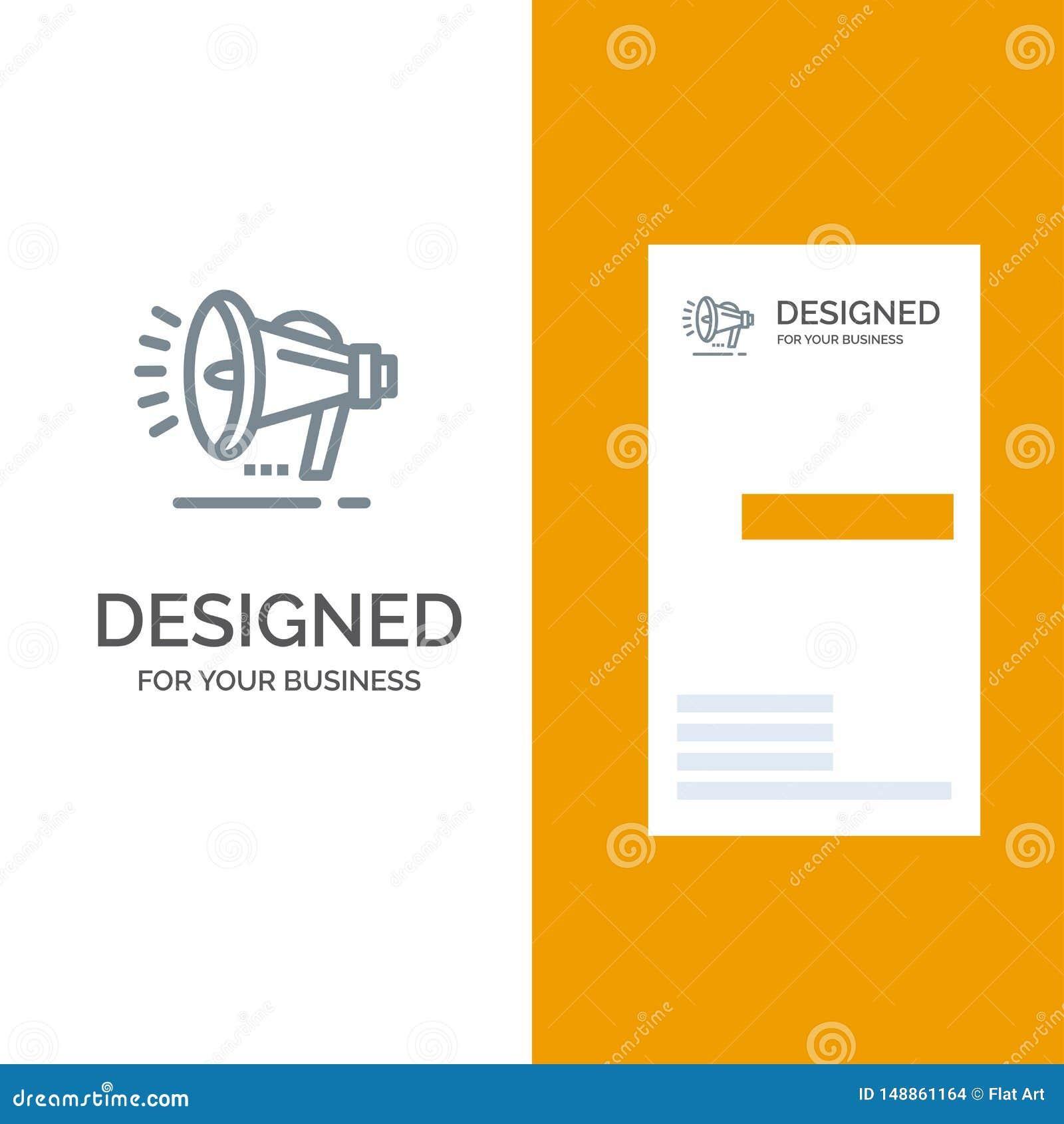 Haut-parleur, haut-parleur, voix, annonce Grey Logo Design et calibre de carte de visite professionnelle de visite