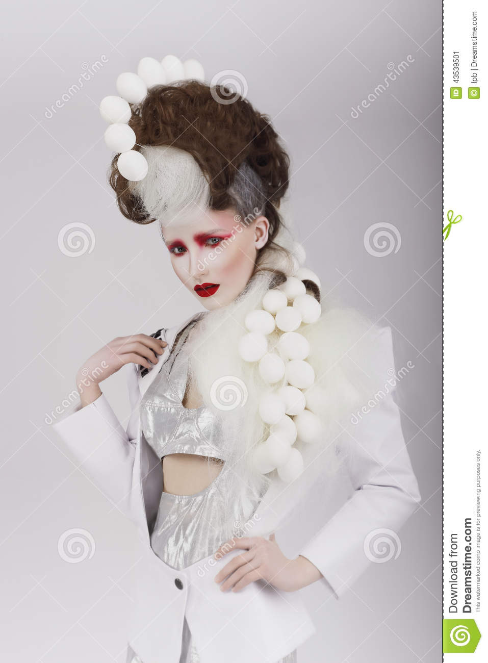 Haute Couture Extravagant Woman In Cyber Costume And