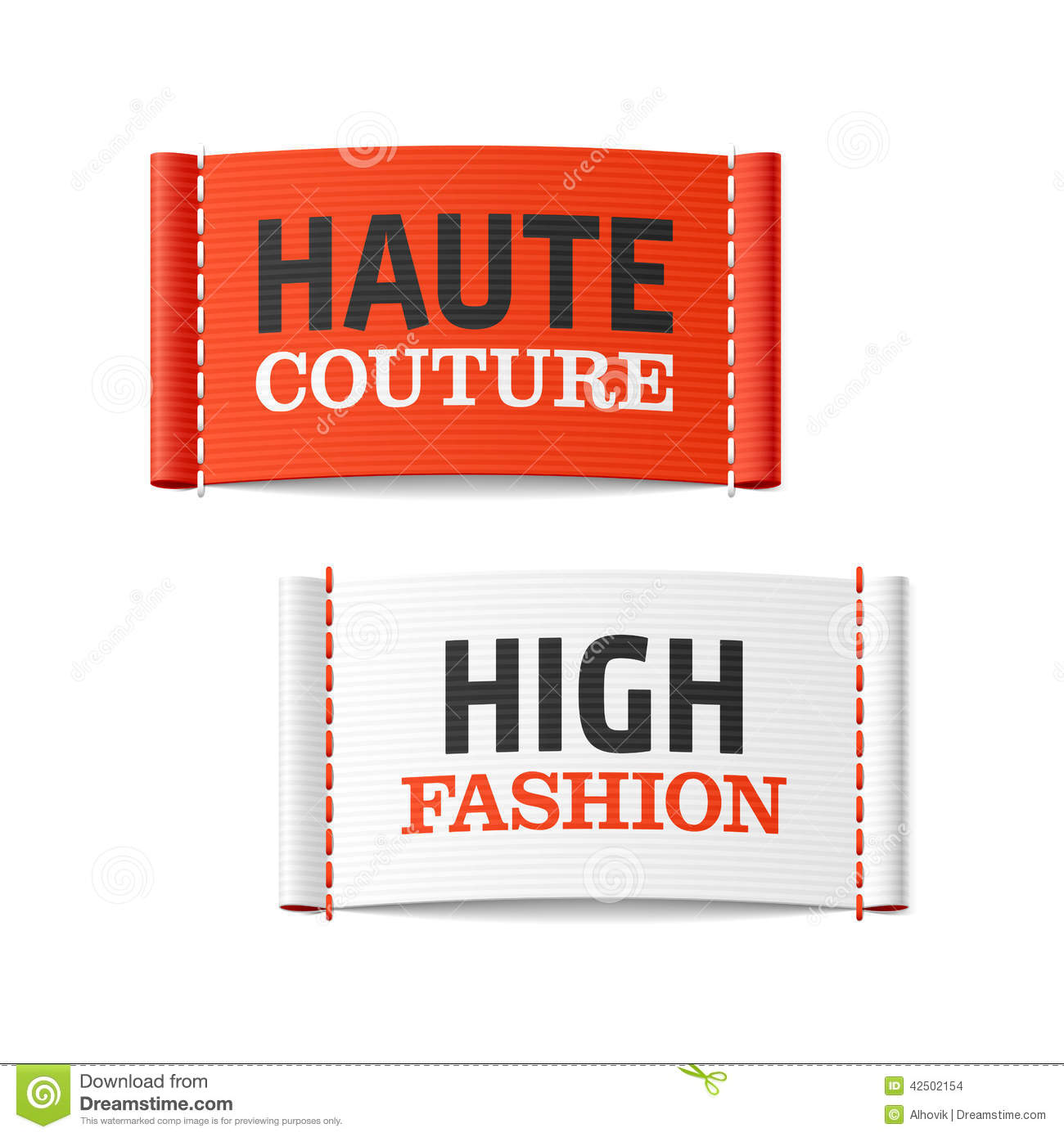 Haute couture and high fashion clothing labels stock for Couture labels