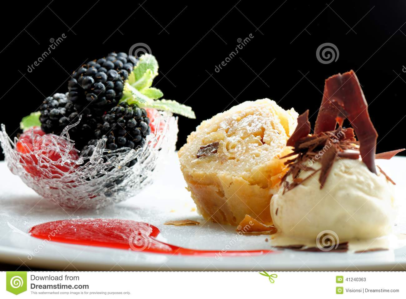 haute cuisine strudel with ice cream and berries dessert on restaurant table stock photo. Black Bedroom Furniture Sets. Home Design Ideas