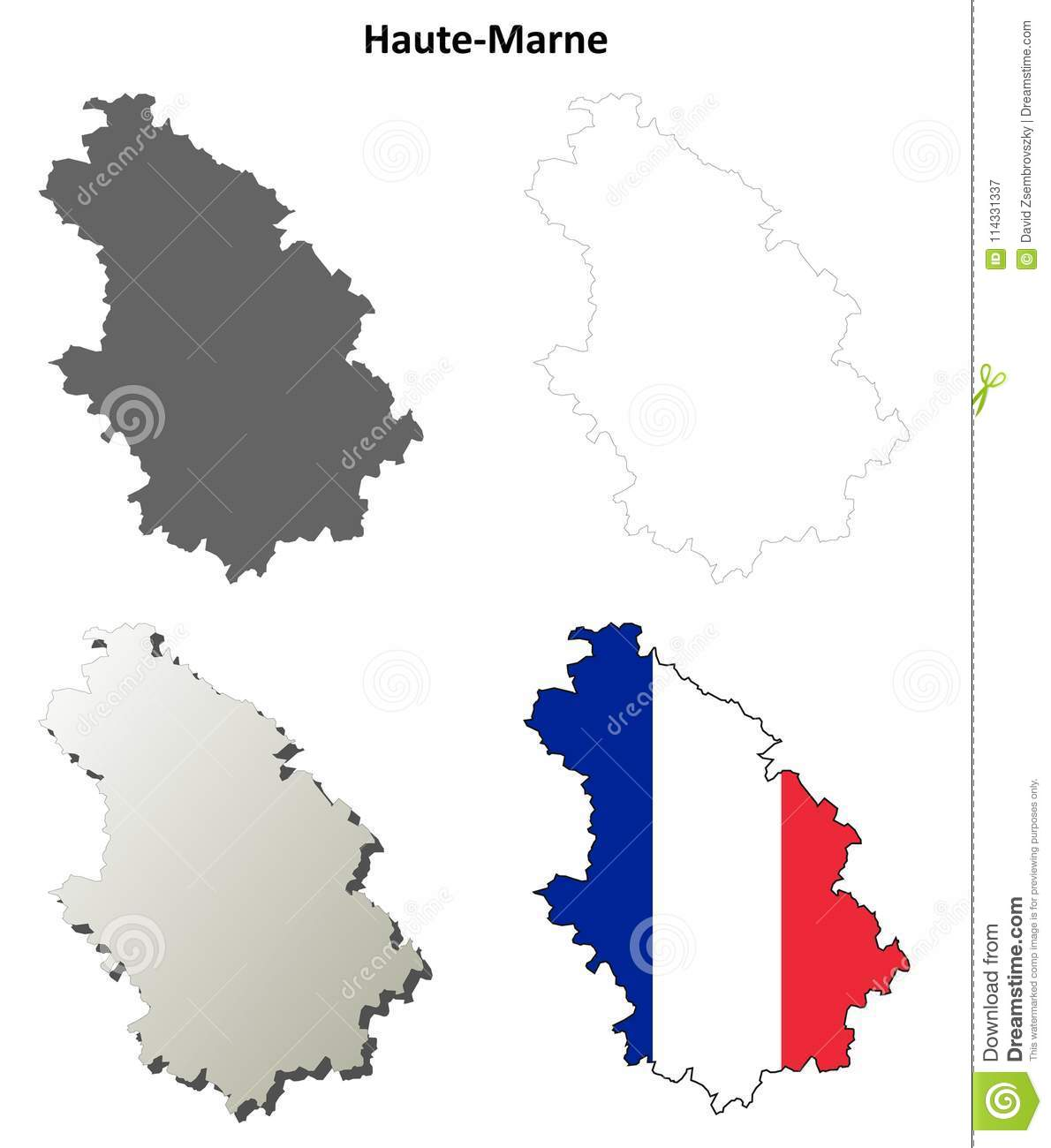 Haute-Marne, Champagne-Ardenne Outline Map Set Stock Vector ... on