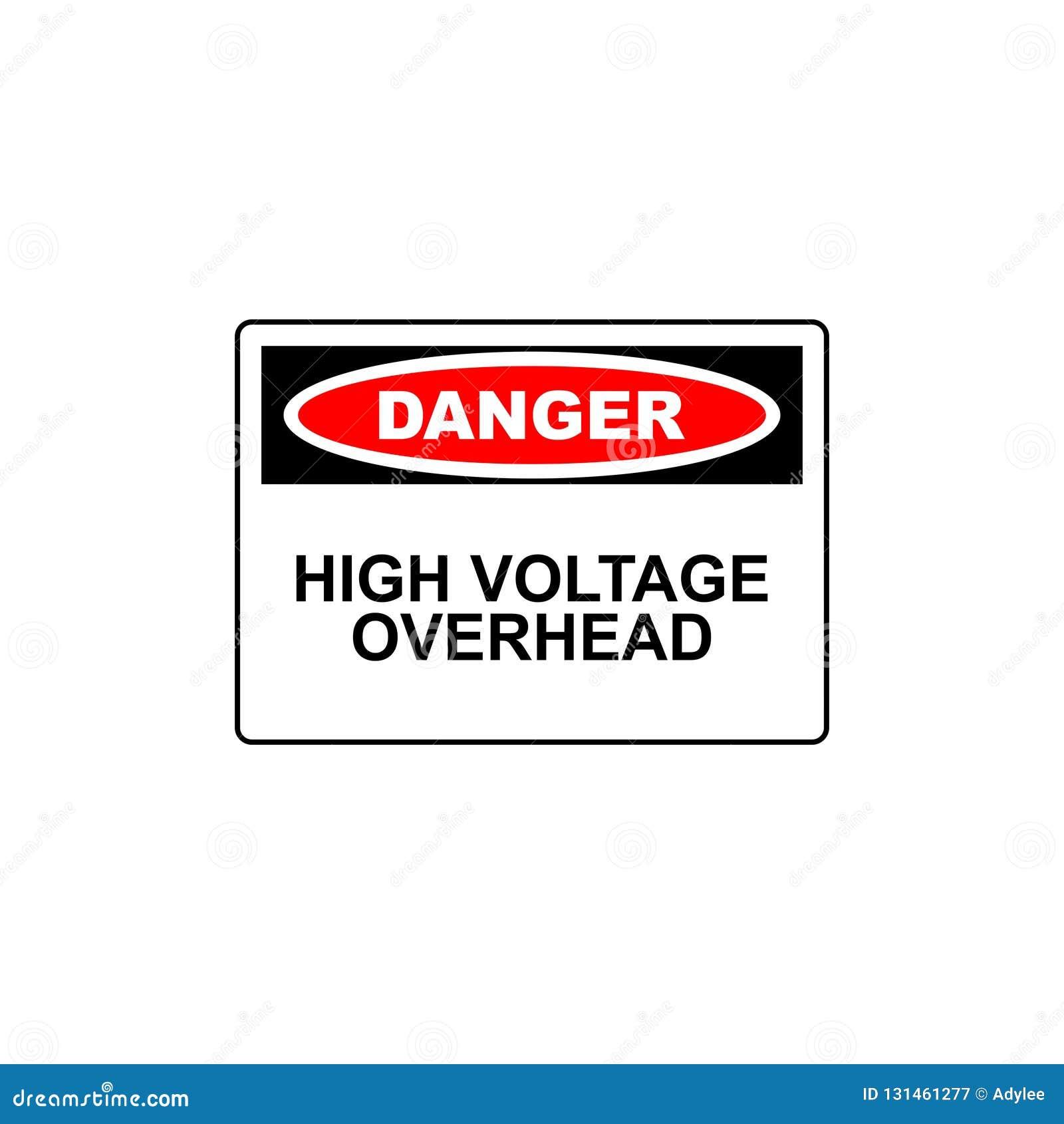 Haute tension de signe de danger de vecteur au-dessus