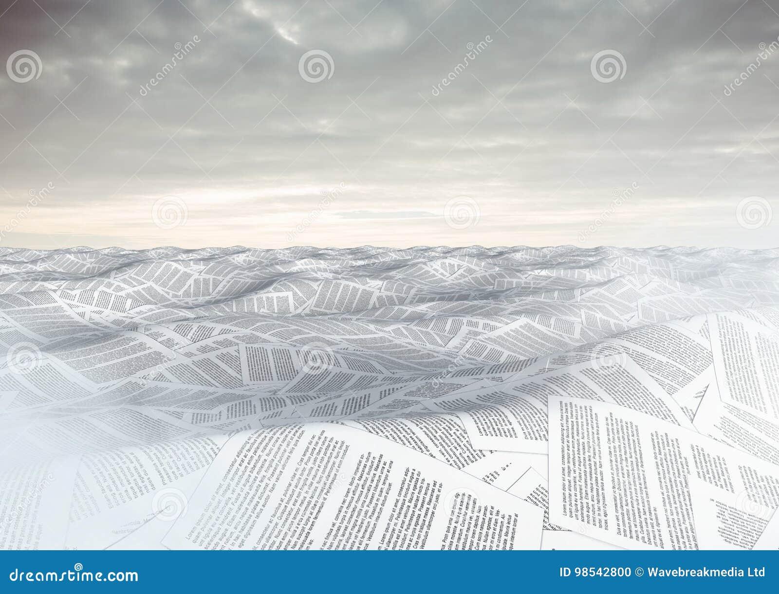 Hav av dokument under himmelmoln