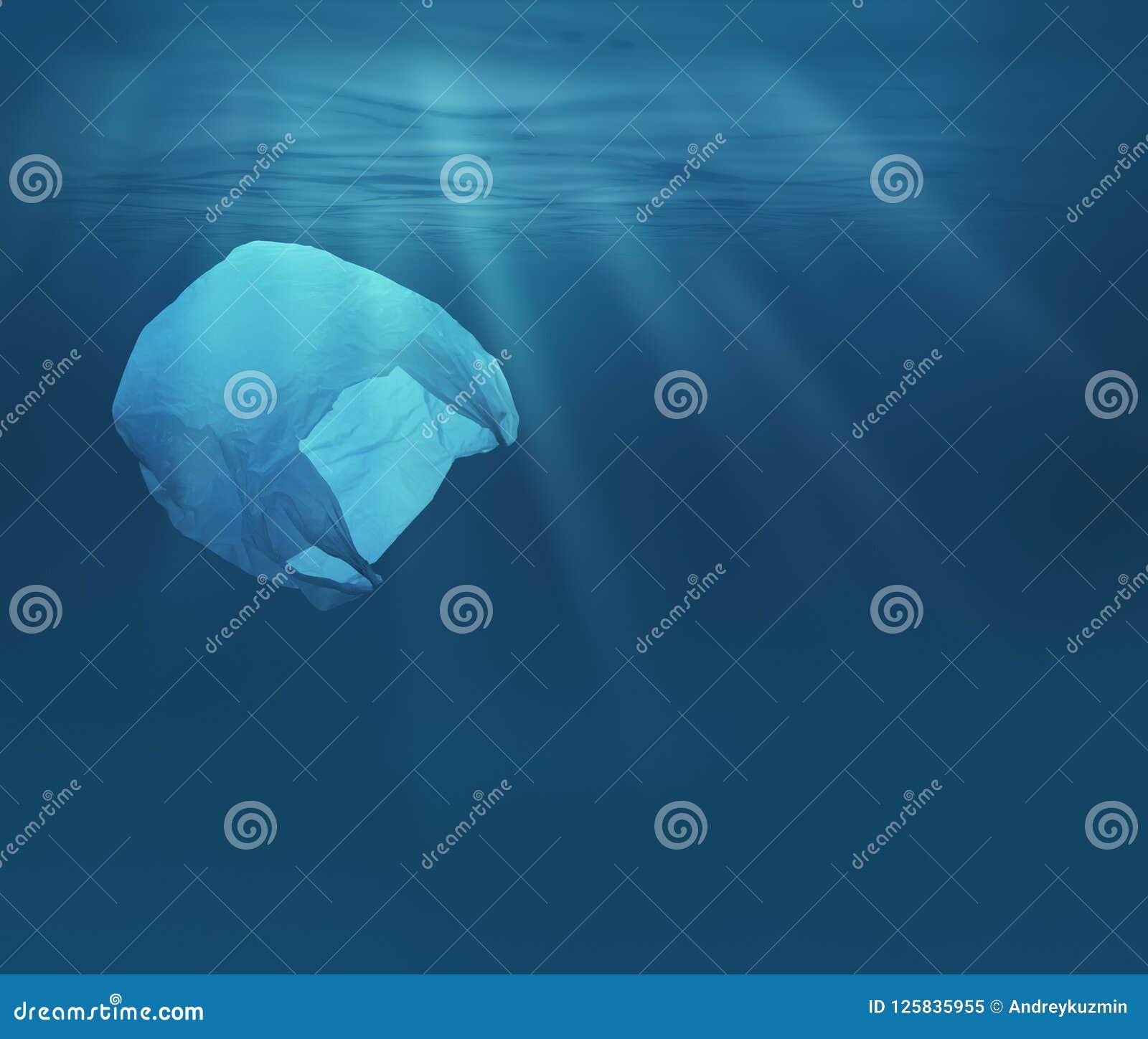 Hav eller hav som är undervattens- med plastpåsen Ekologiskt problem för miljöförorening
