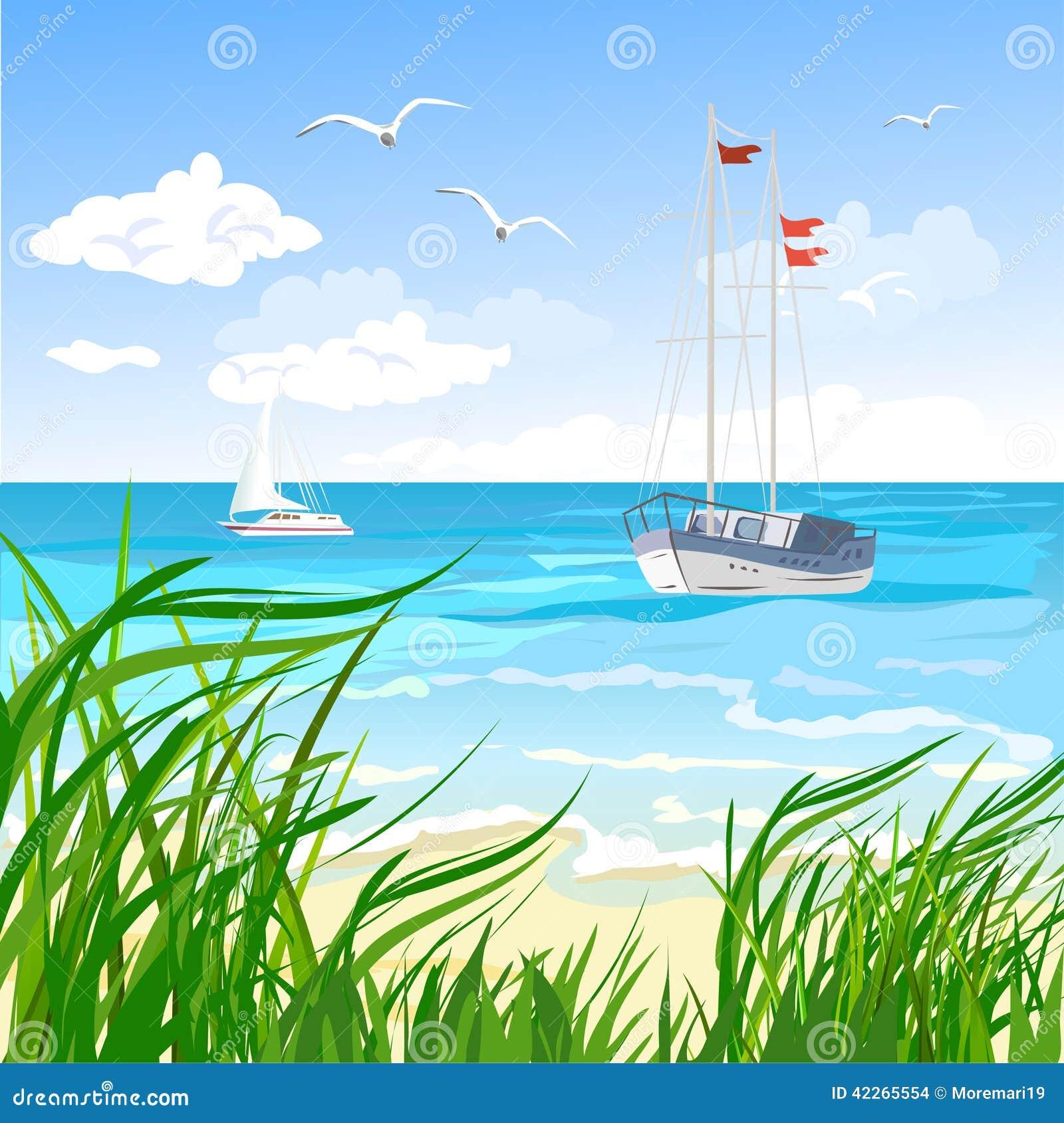 Hav, strand och yacht