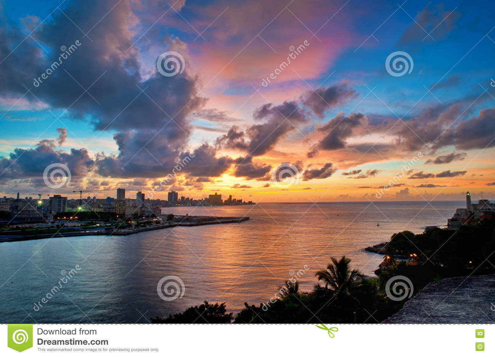 Havana bay entrance and city skyline at dusk