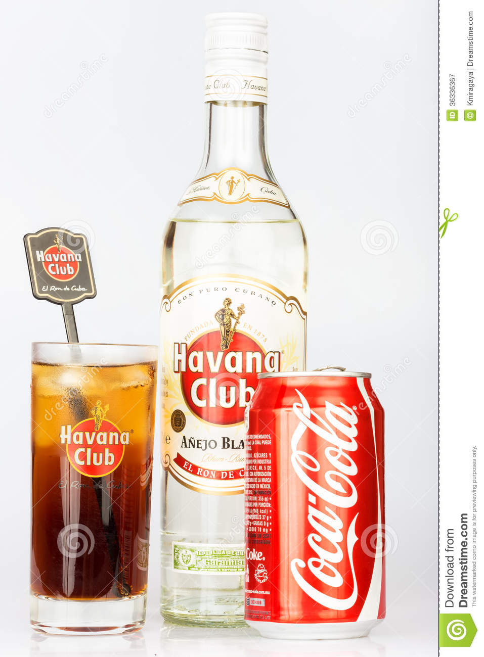 Havana club rum and coke next to a cuba libre editorial for White rum with coke